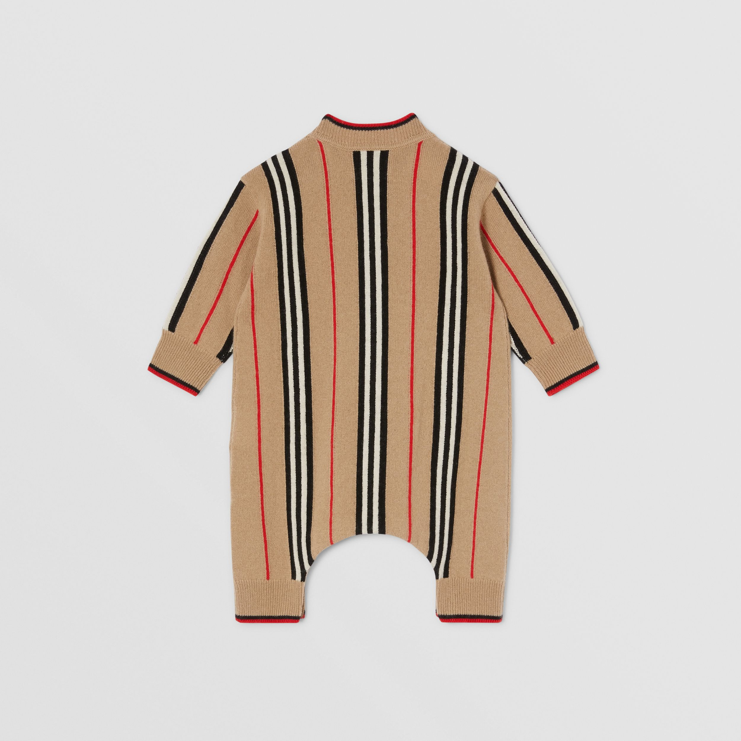 Icon Stripe Cashmere Wool Jumpsuit in Archive Beige - Children | Burberry - 4
