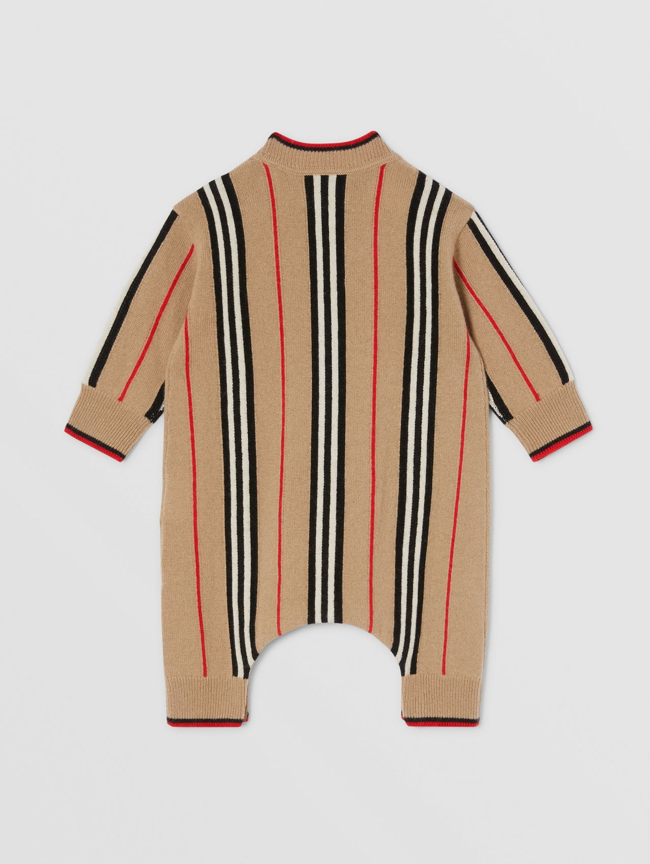 Icon Stripe Cashmere Wool Jumpsuit in Archive Beige
