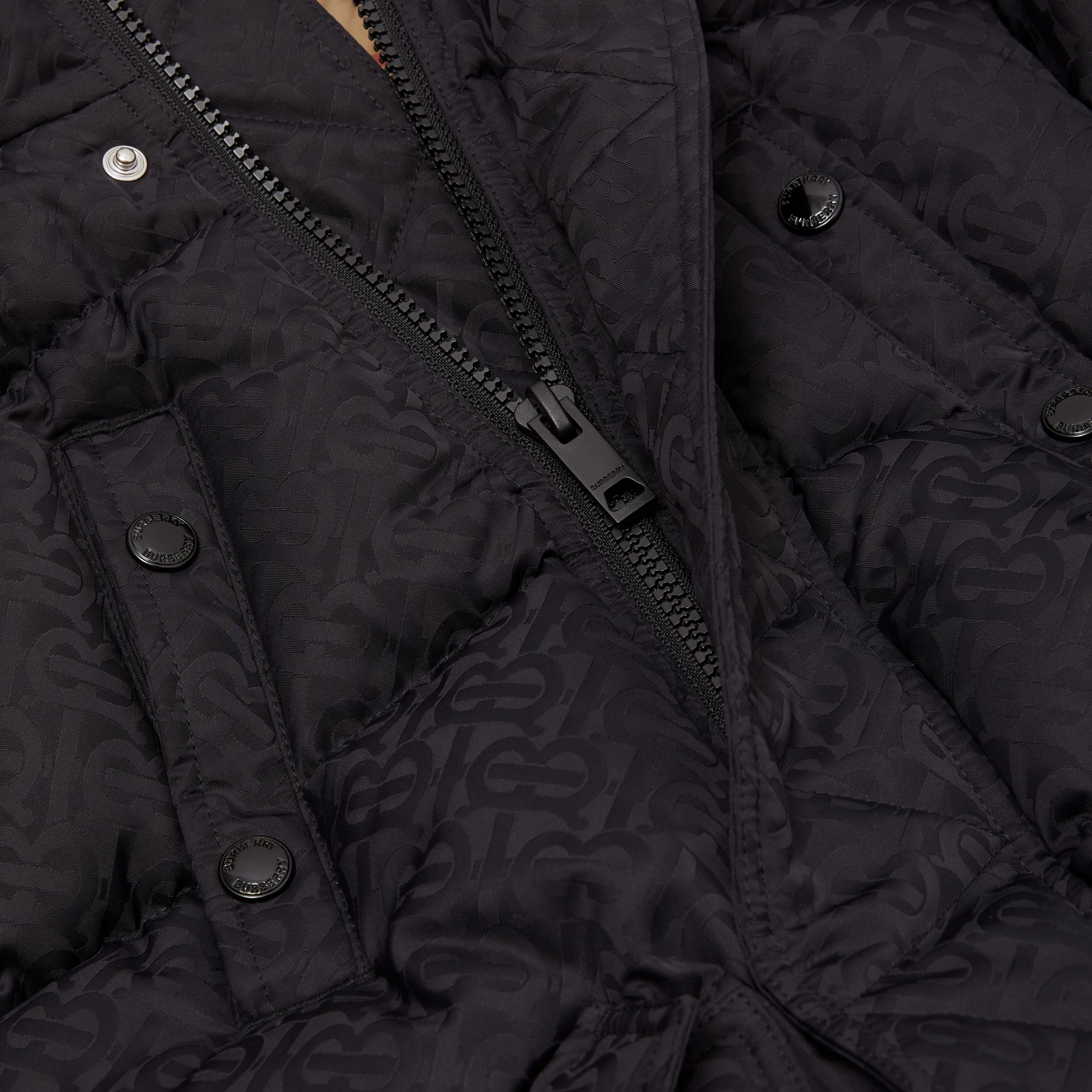 Detachable Hood Monogram Jacquard Puffer Coat in Black | Burberry - 2