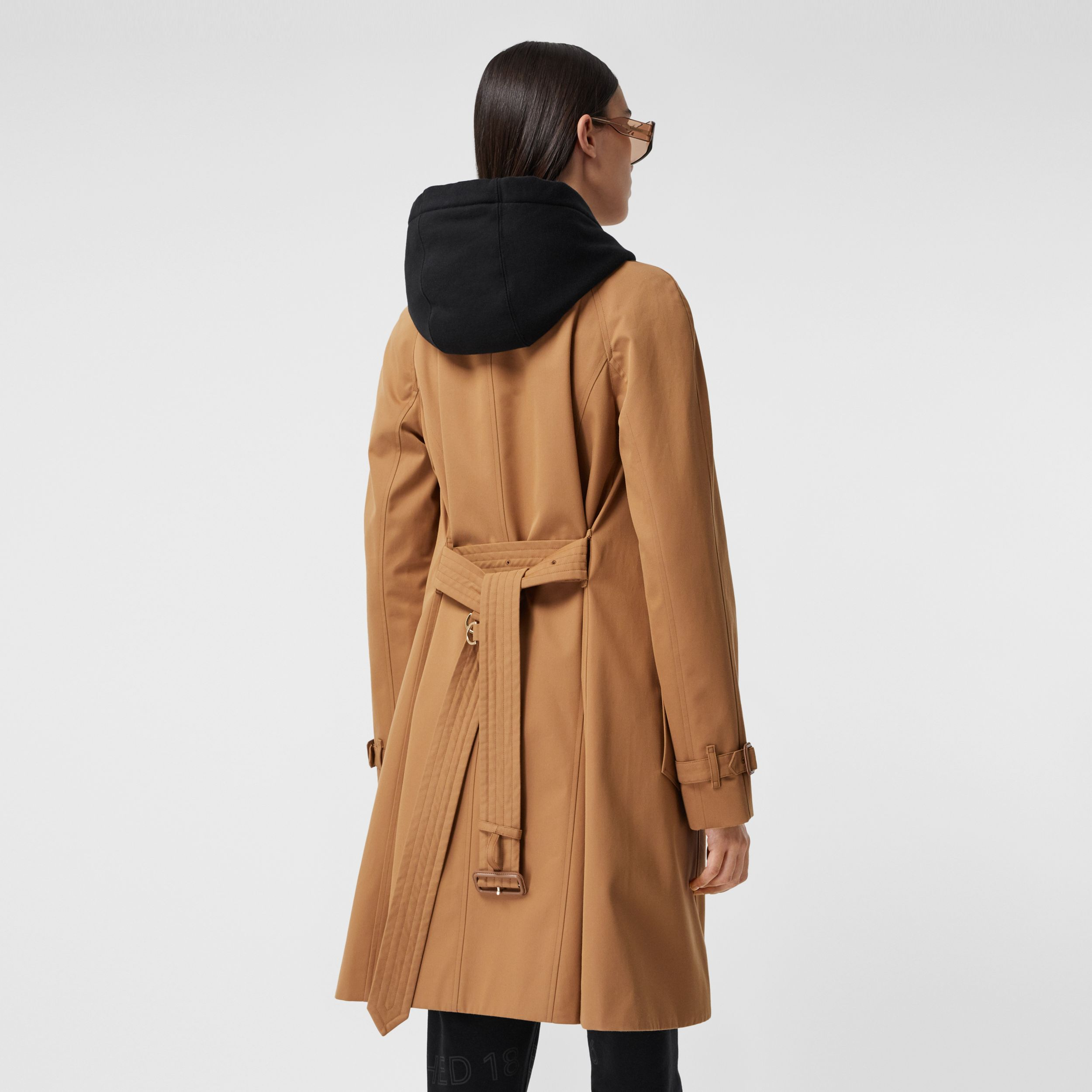 Cotton Gabardine Belted Swing Coat in Nutmeg - Women | Burberry United States - 3