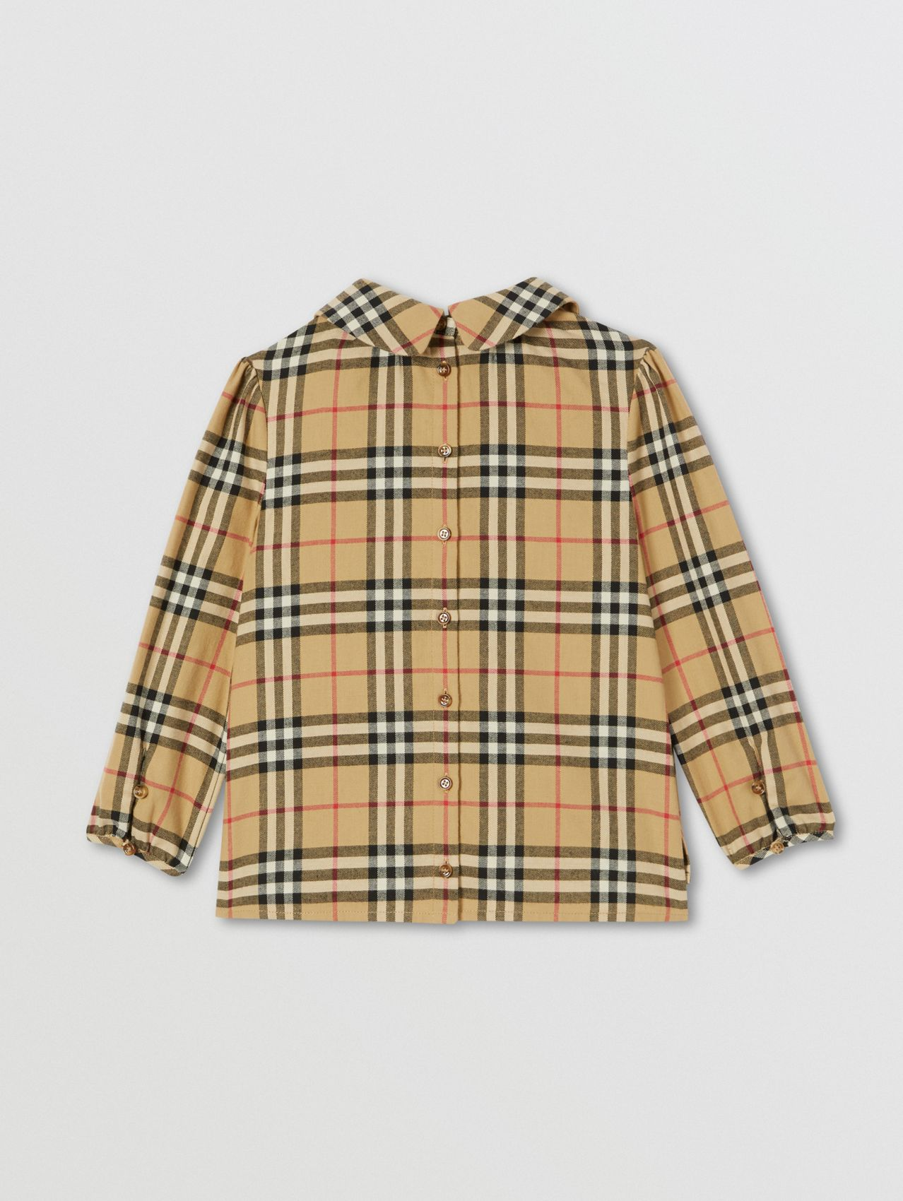 Peter Pan Collar Vintage Check Cotton Blouse