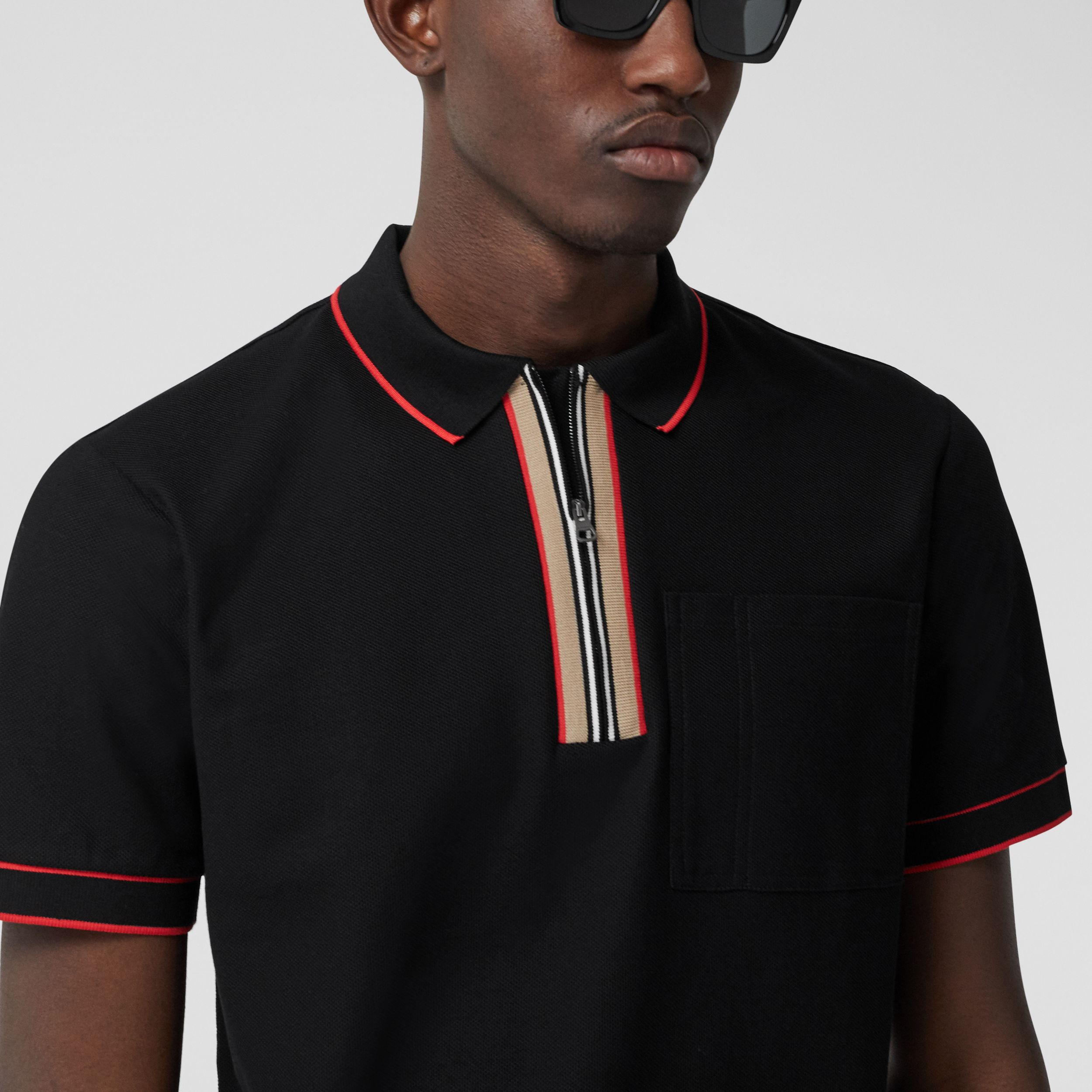 Icon Stripe Detail Cotton Zip-front Polo Shirt in Black - Men | Burberry - 2