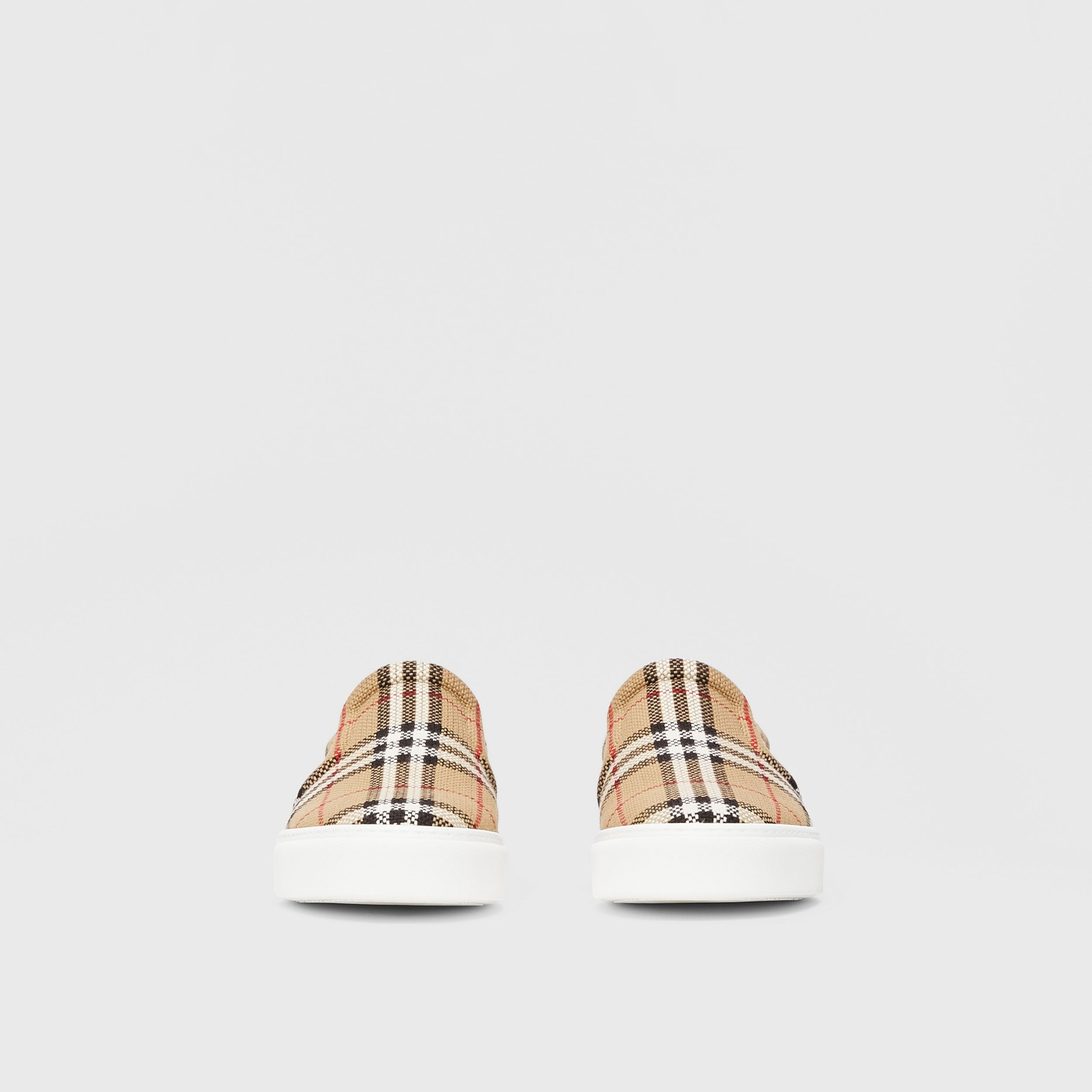 Bio-based Sole Latticed Cotton Slip-on Sneakers in Archive Beige - Men | Burberry - 4