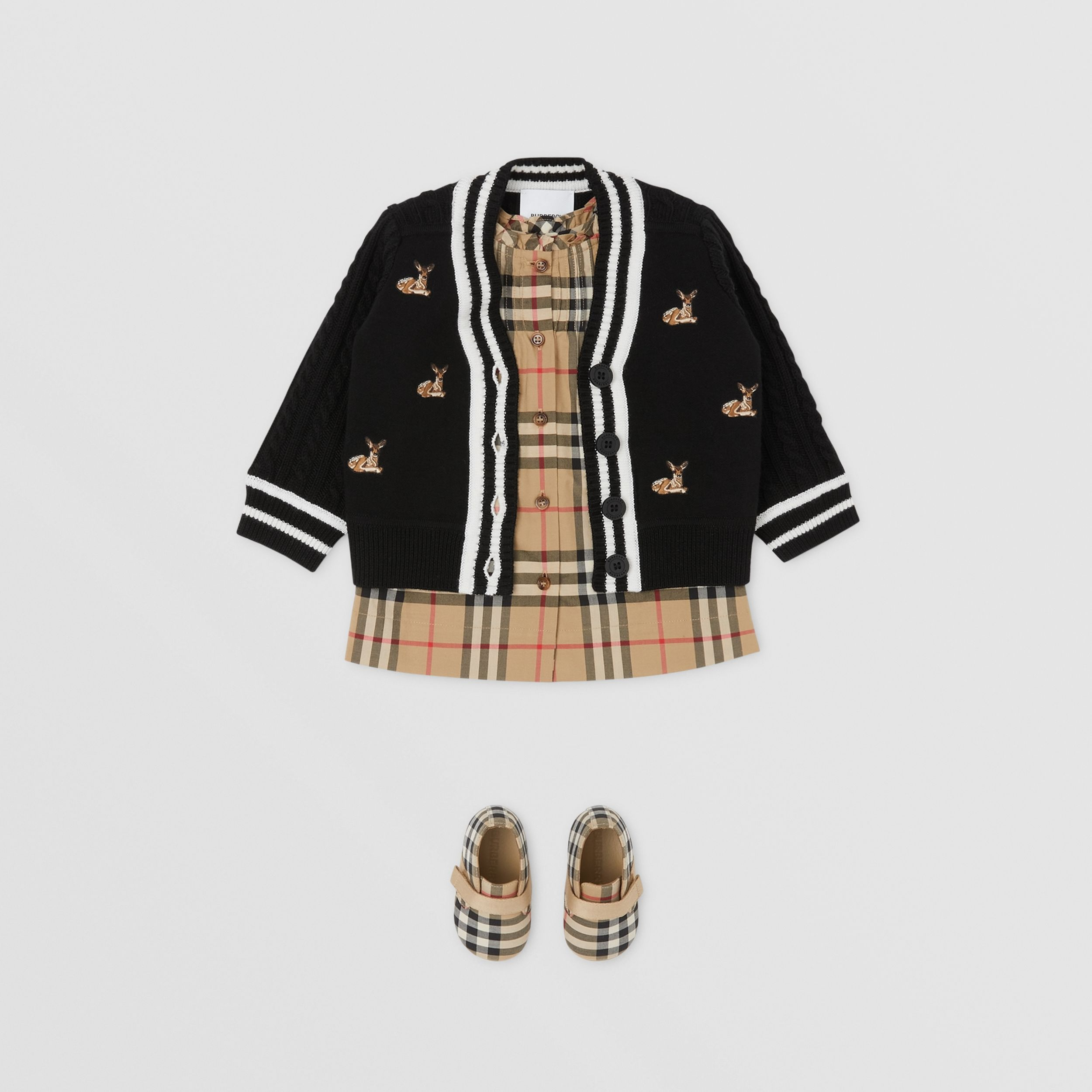 Deer Motif Wool Blend Cardigan - Children | Burberry - 3