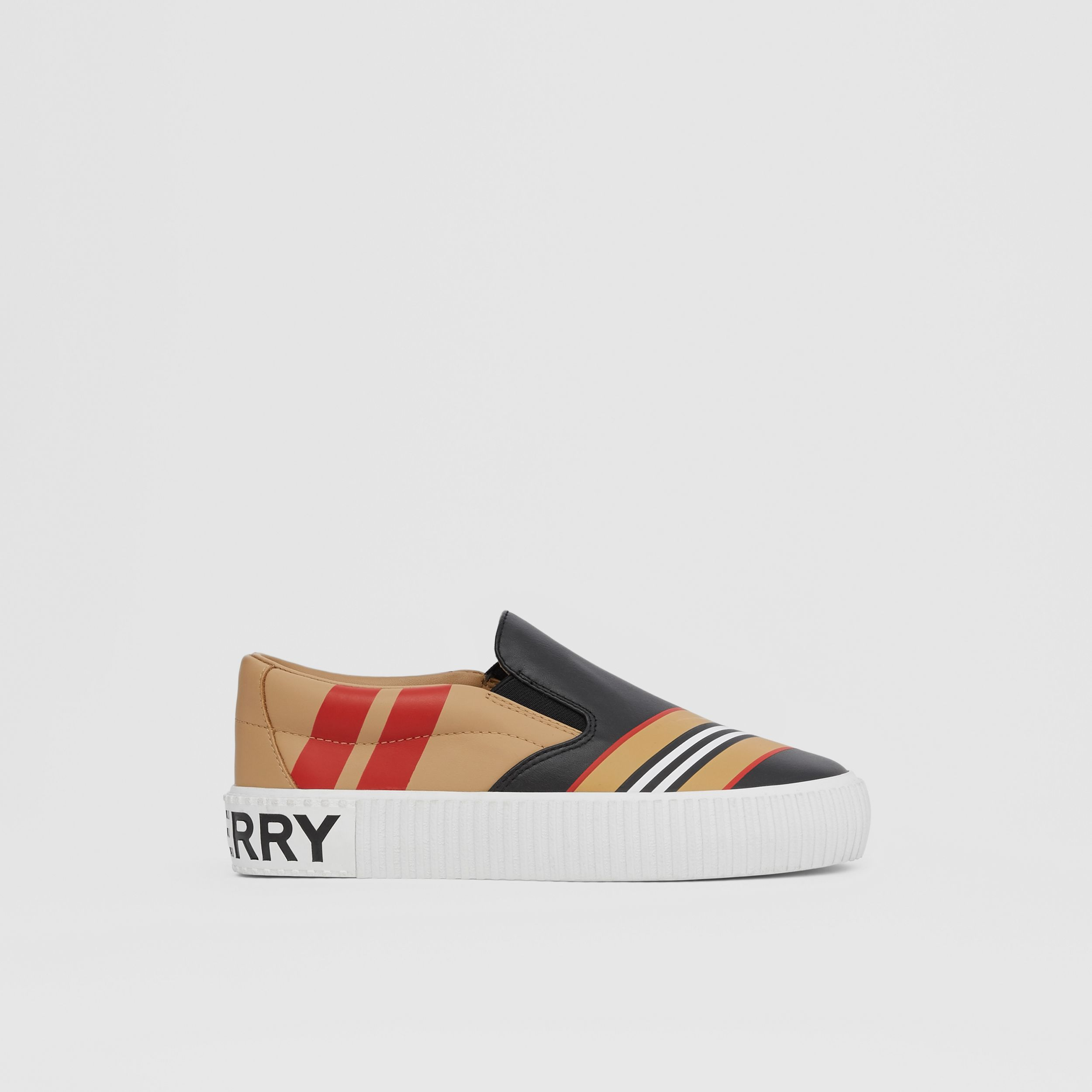 Icon Stripe Print Leather Slip-on Sneakers in Black - Children | Burberry Canada - 4