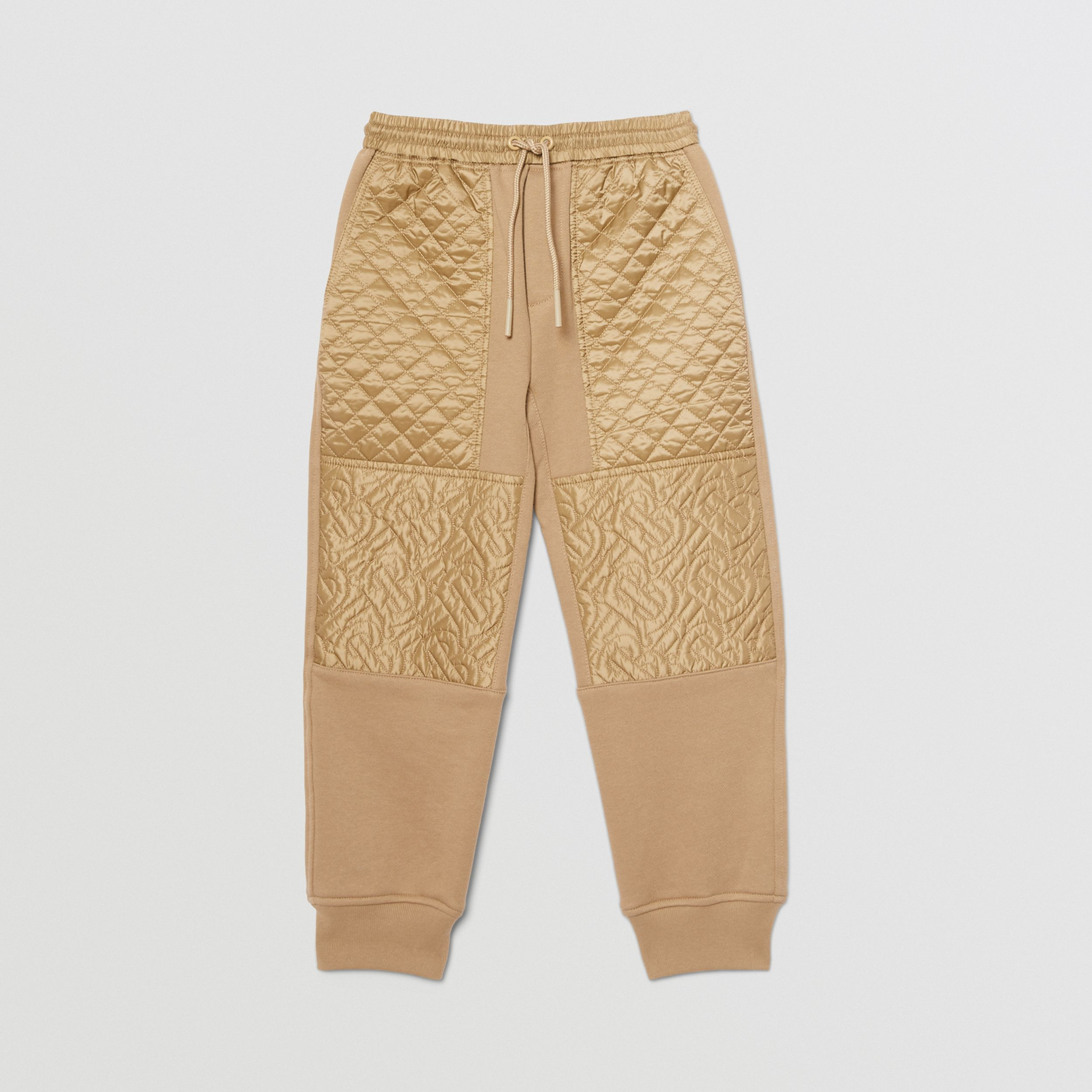 Monogram Quilted Panel Cotton Jogging Pants in Honey | Burberry - 1