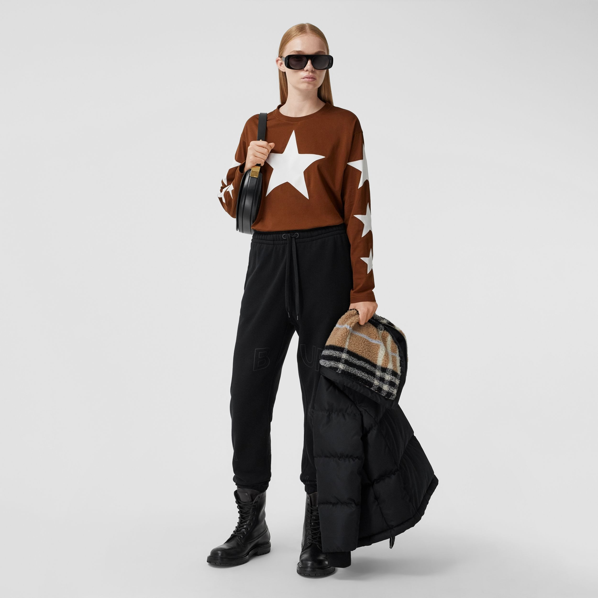 Long-sleeve Star Motif Cotton Oversized Top in Mahogany - Women | Burberry United Kingdom - 1