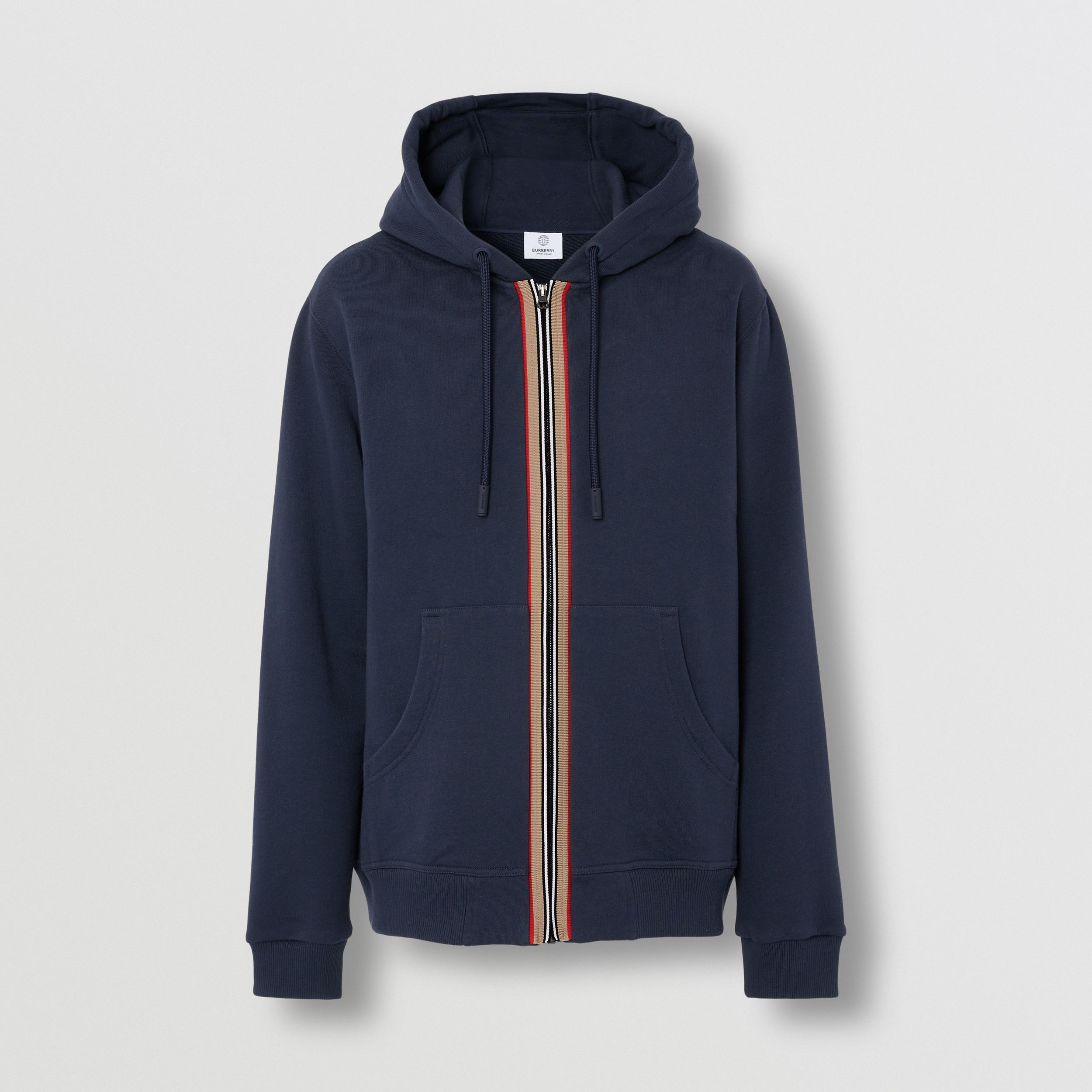 Icon Stripe Detail Cotton Hooded Top in Navy - Men | Burberry United States - 4