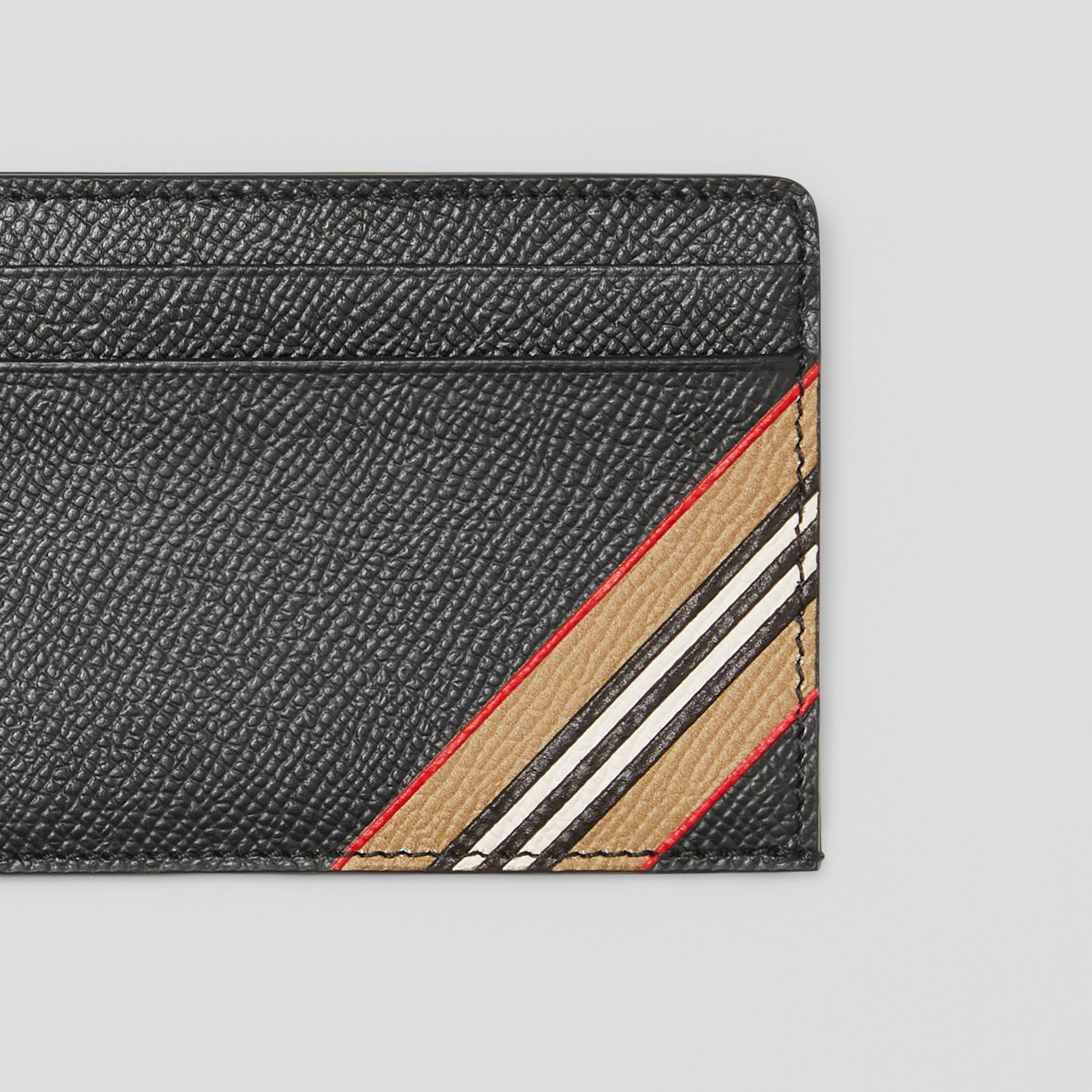 Icon Stripe Print Grainy Leather Card Case in Black - Men | Burberry Singapore - 2