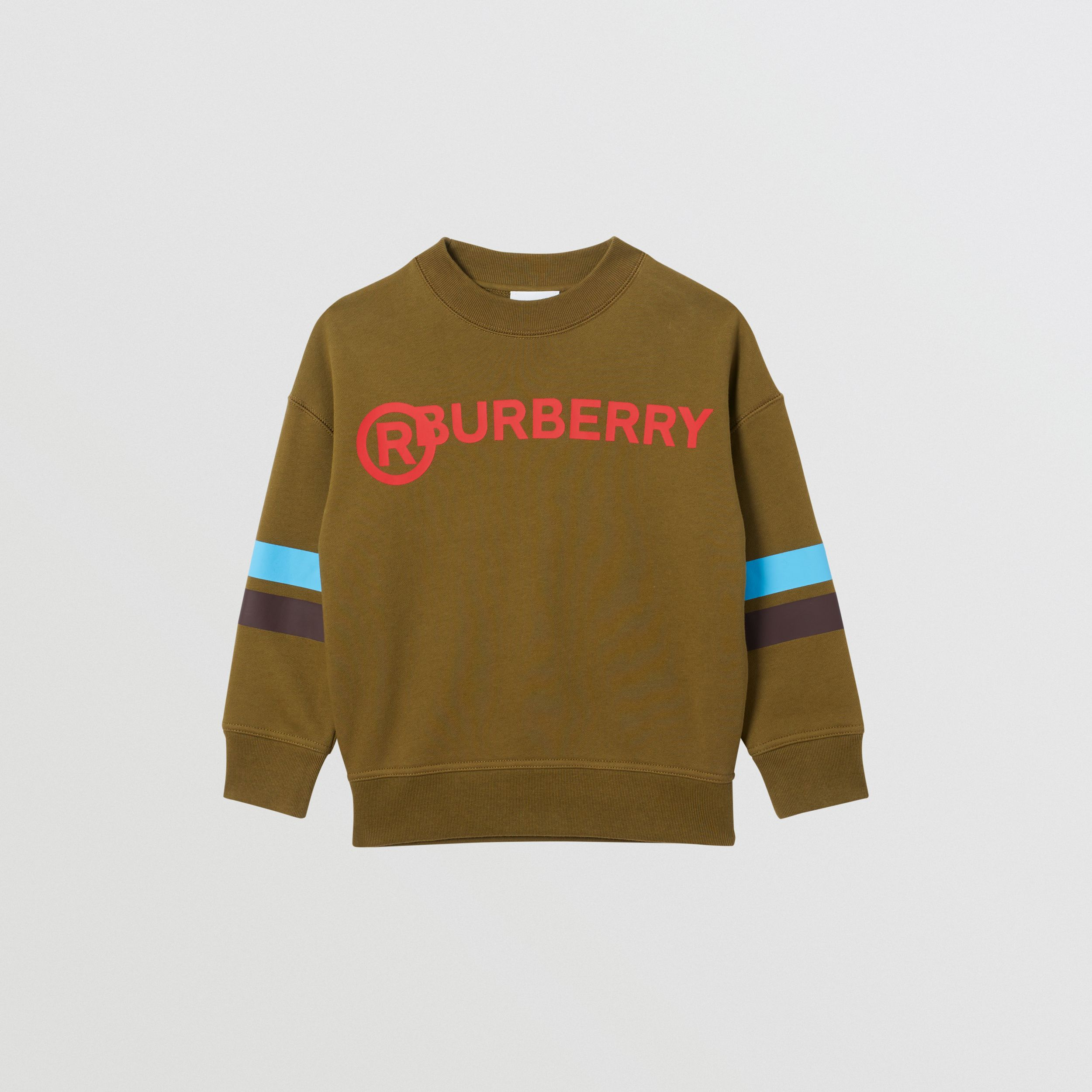 Logo and Stripe Print Cotton Sweatshirt in Khaki Green Melange | Burberry - 1