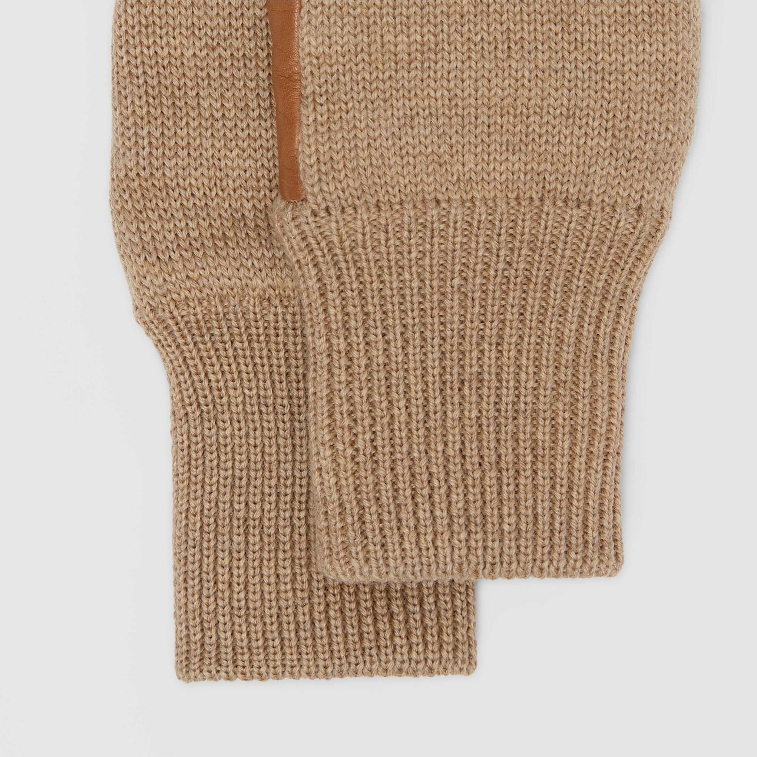 Cashmere-lined Merino Wool and Lambskin Gloves in Bronze | Burberry - 3