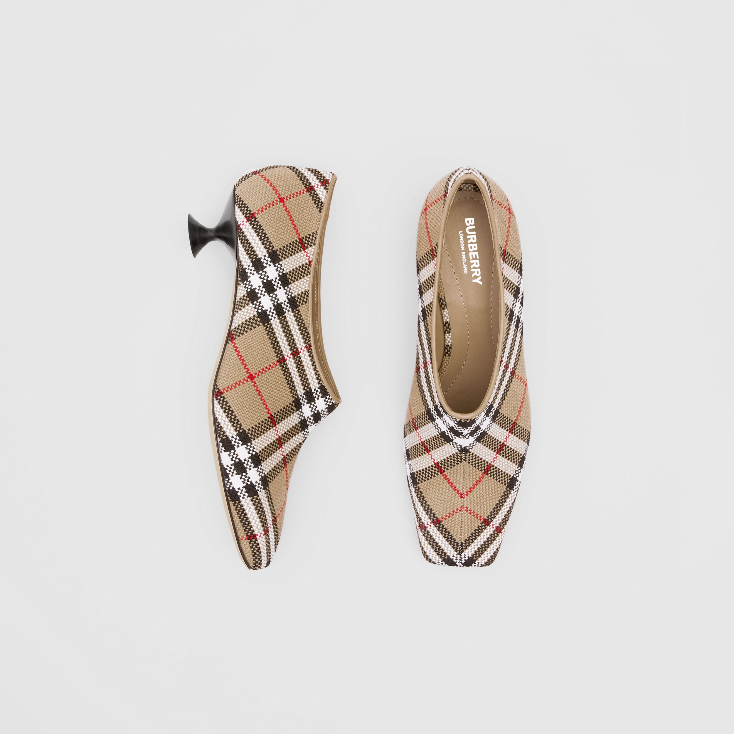 Latticed Cotton Kitten-heel Pumps in Archive Beige - Women | Burberry - 1