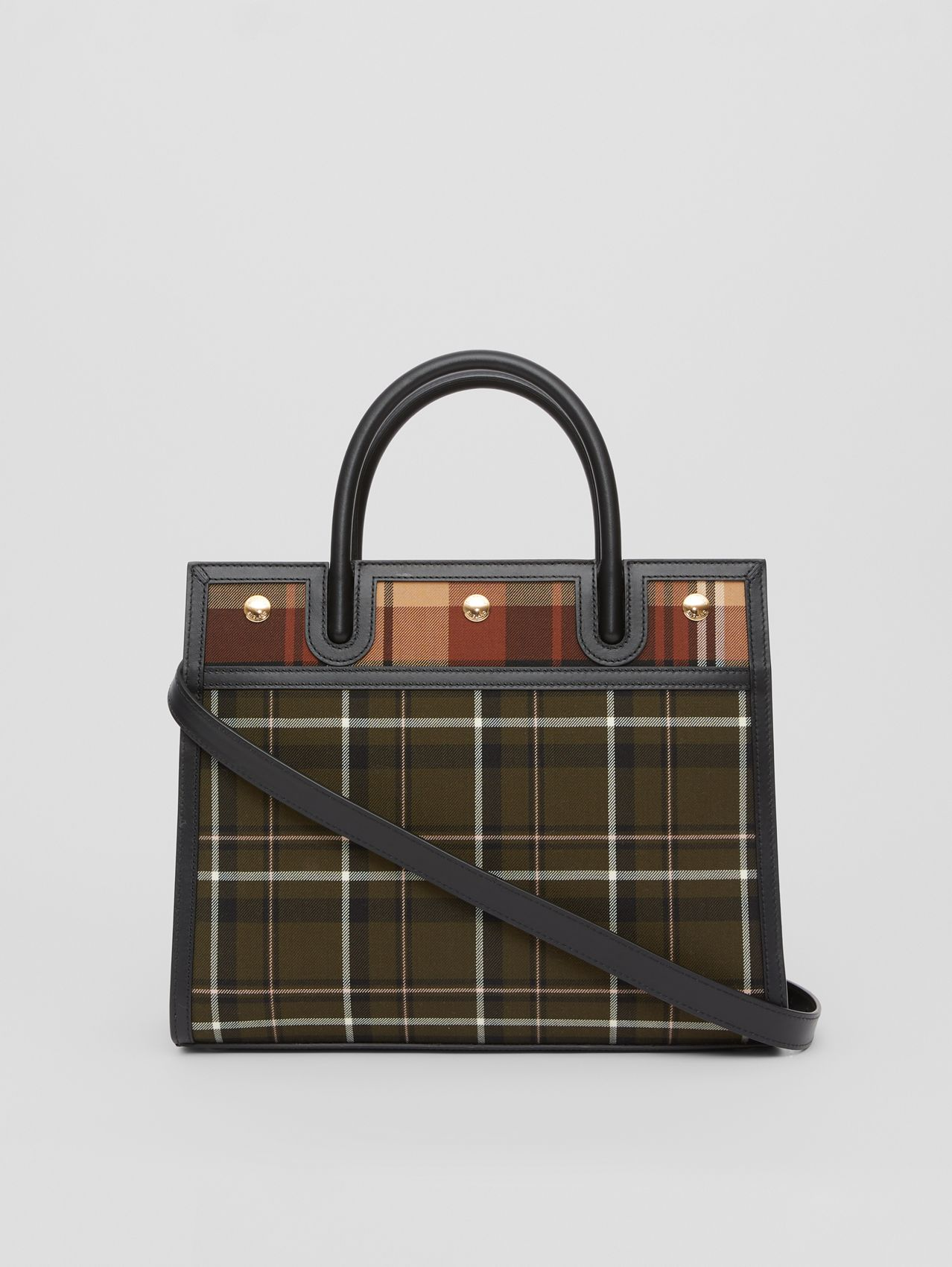 Small Tartan Wool Two-handle Title Bag in Dark Green