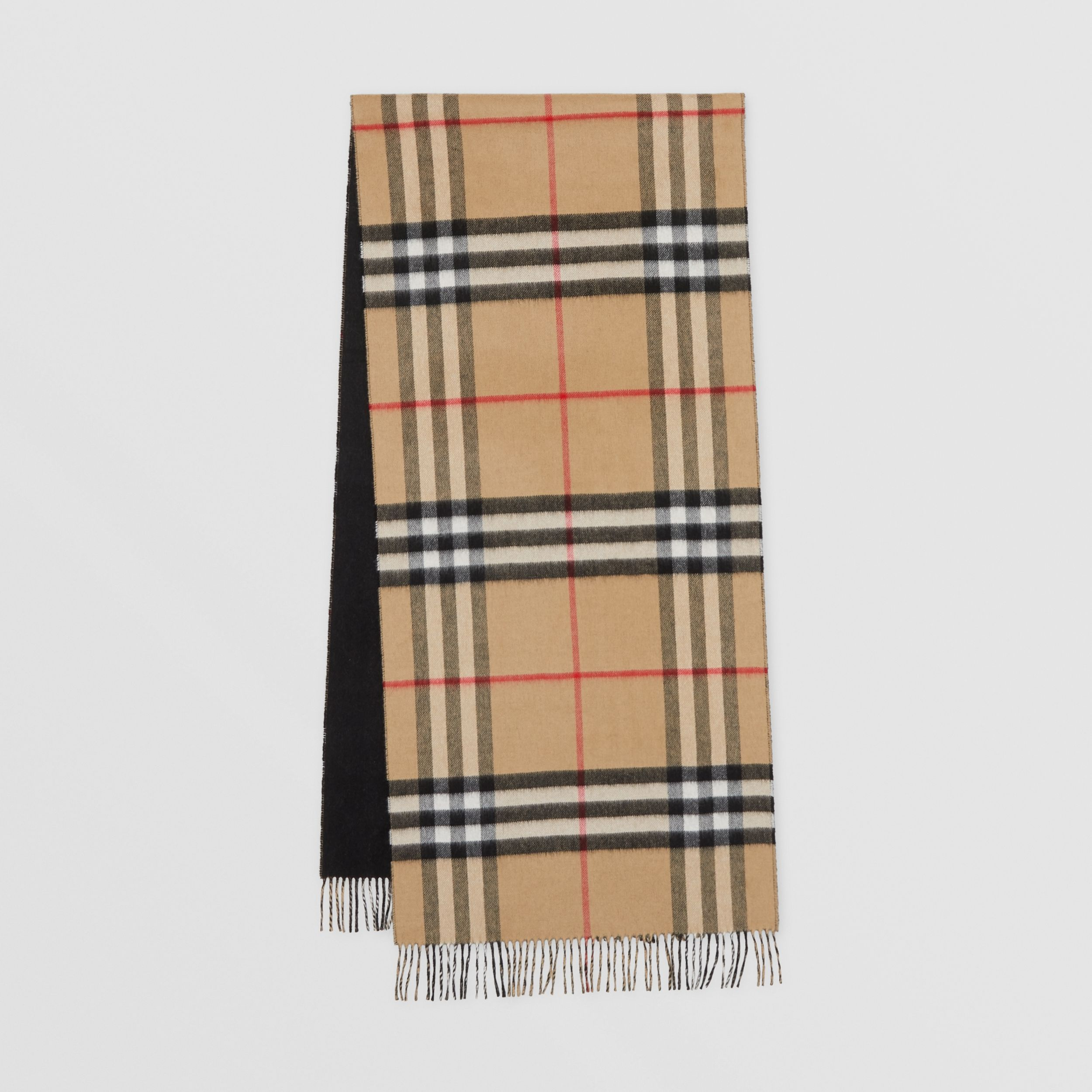 Reversible Check Cashmere Scarf in Black | Burberry - 1