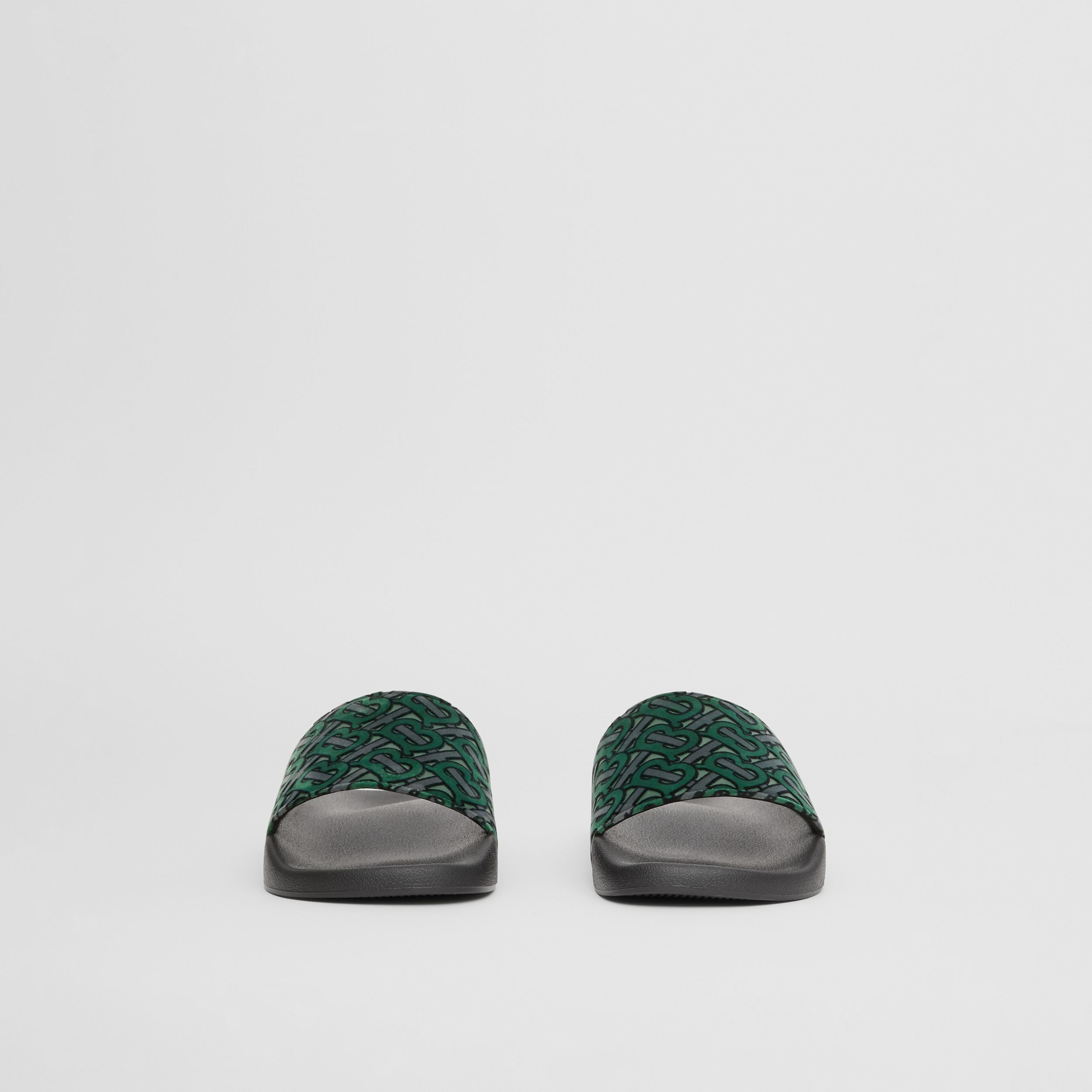 Monogram Flocked Leather Slides in Dark Forest Green - Men | Burberry - 4