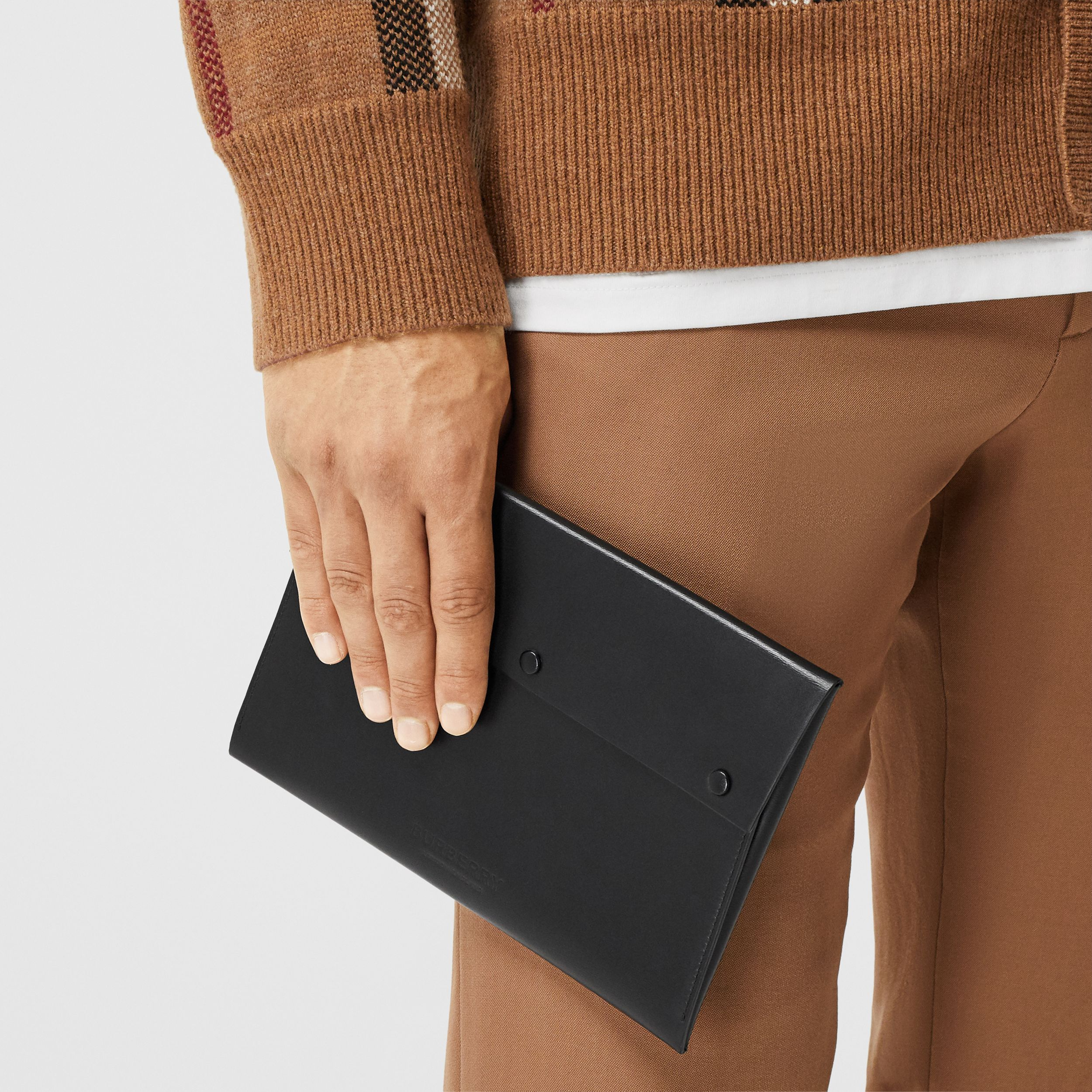 Large Suede and Leather Envelope Pouch in Black | Burberry Australia - 4