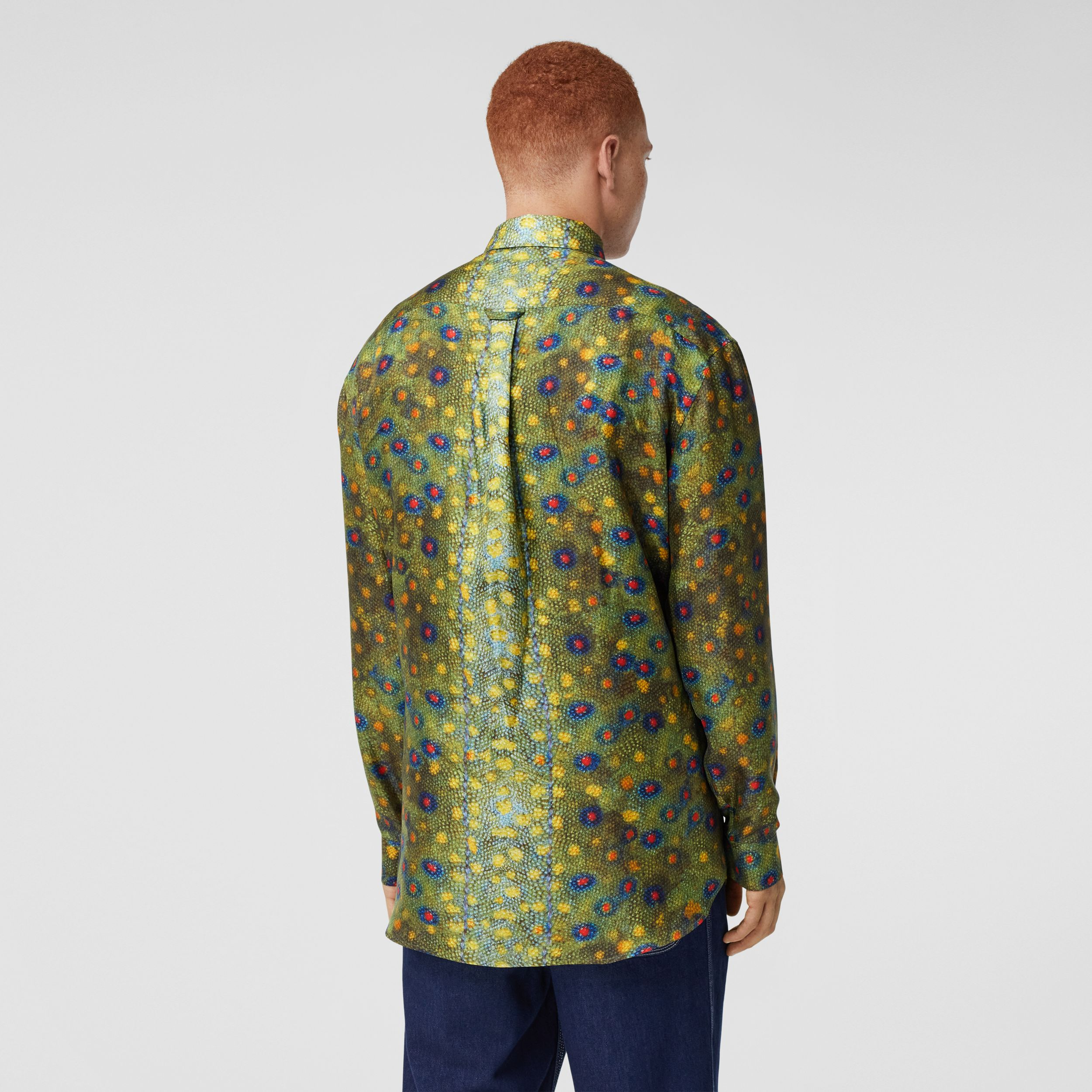 Fish-scale Print Silk Shirt in Olive - Men | Burberry United Kingdom - 3