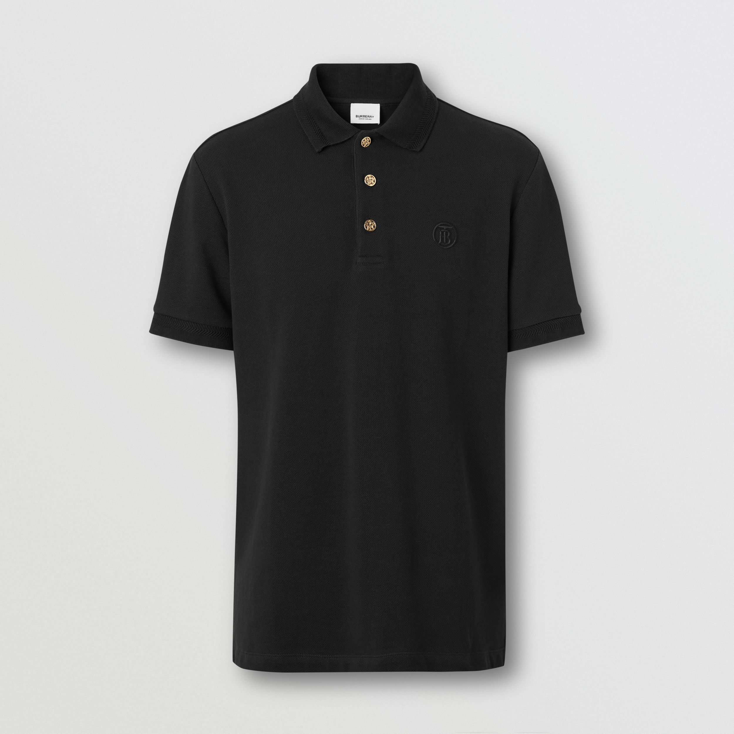 Button Detail Cotton Piqué Polo Shirt in Black - Men | Burberry - 1