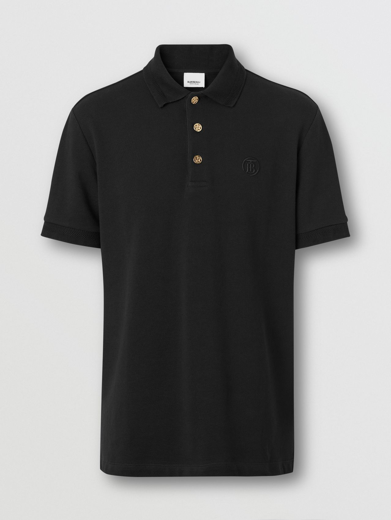 Button Detail Cotton Piqué Polo Shirt in Black