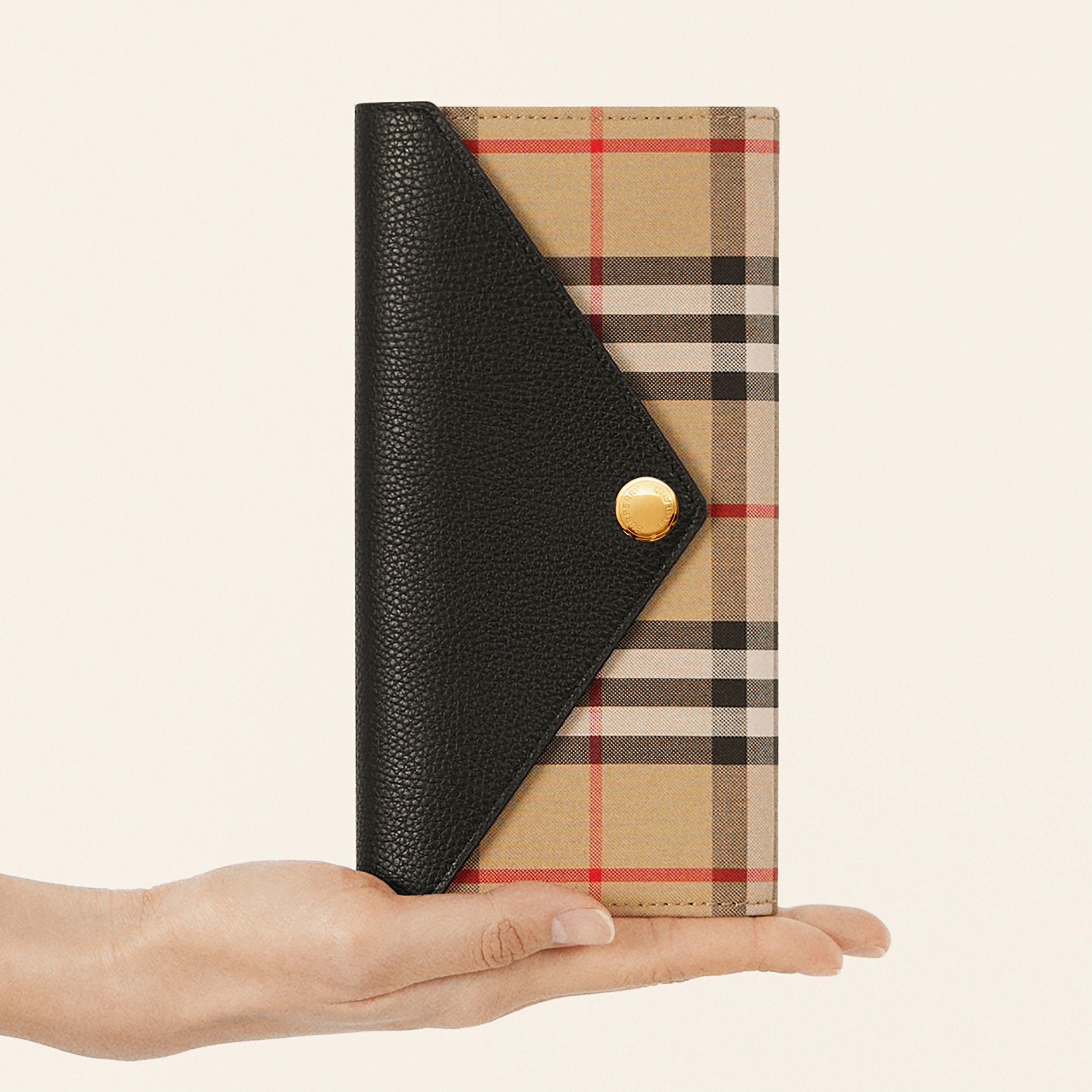 Vintage Check and Leather Continental Wallet in Black - Women | Burberry - 2