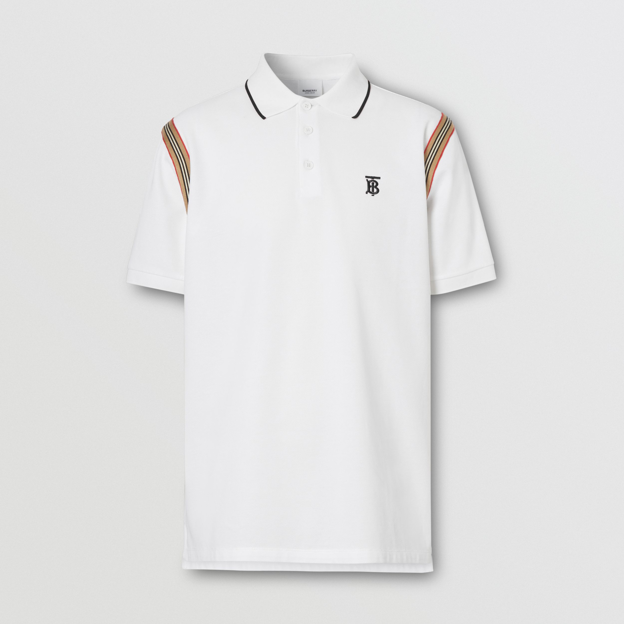 Icon Stripe Trim Monogram Motif Cotton Polo Shirt in White - Men | Burberry - 4