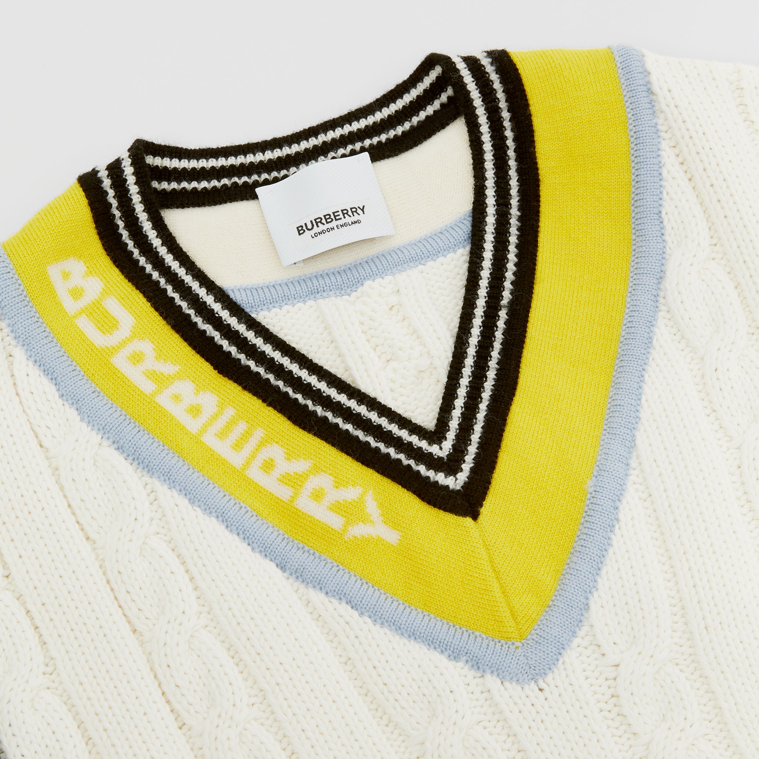 Logo Jacquard Cable Knit Cotton Cricket Sweater in White | Burberry - 2
