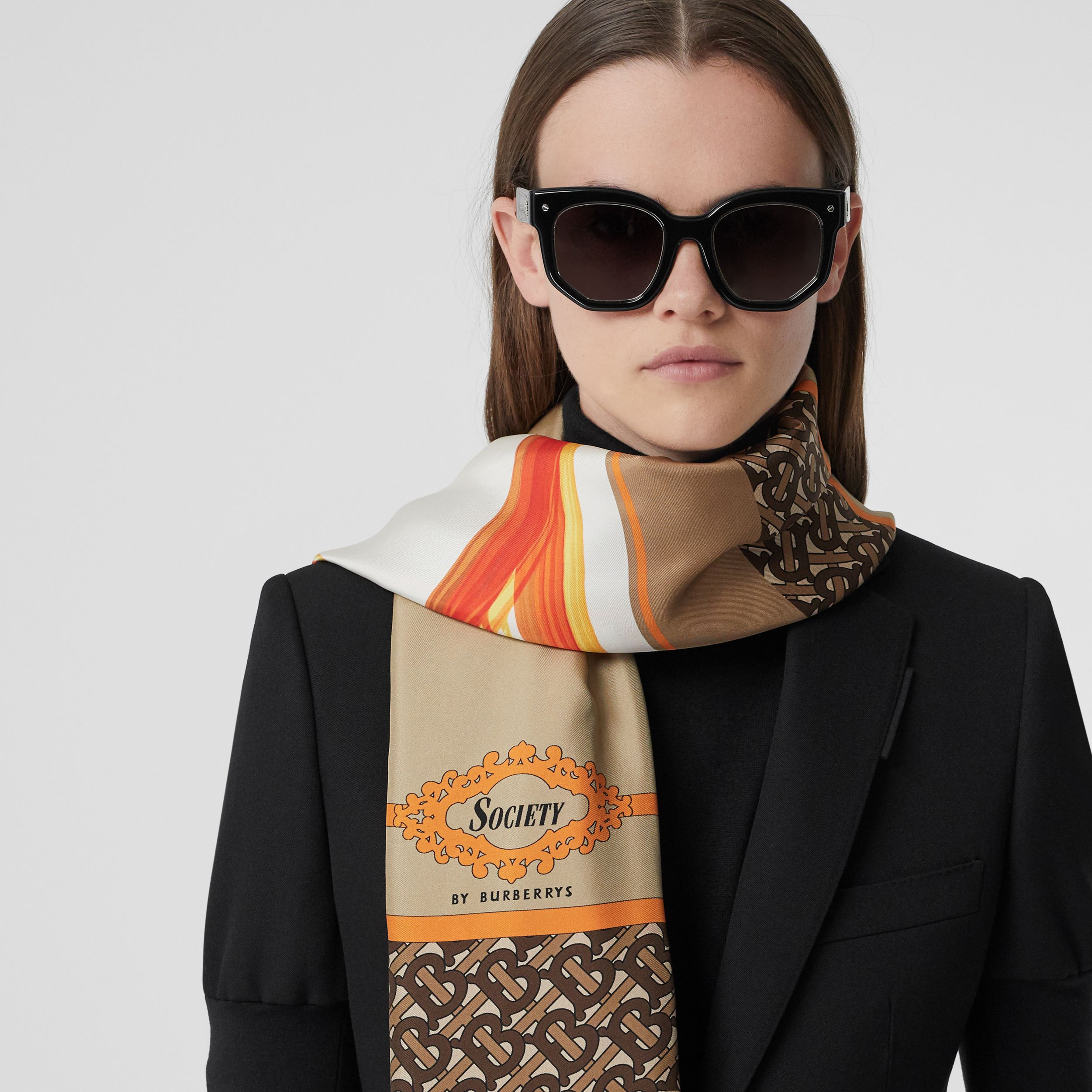 Montage Print Silk Scarf in Archive Beige | Burberry - 3