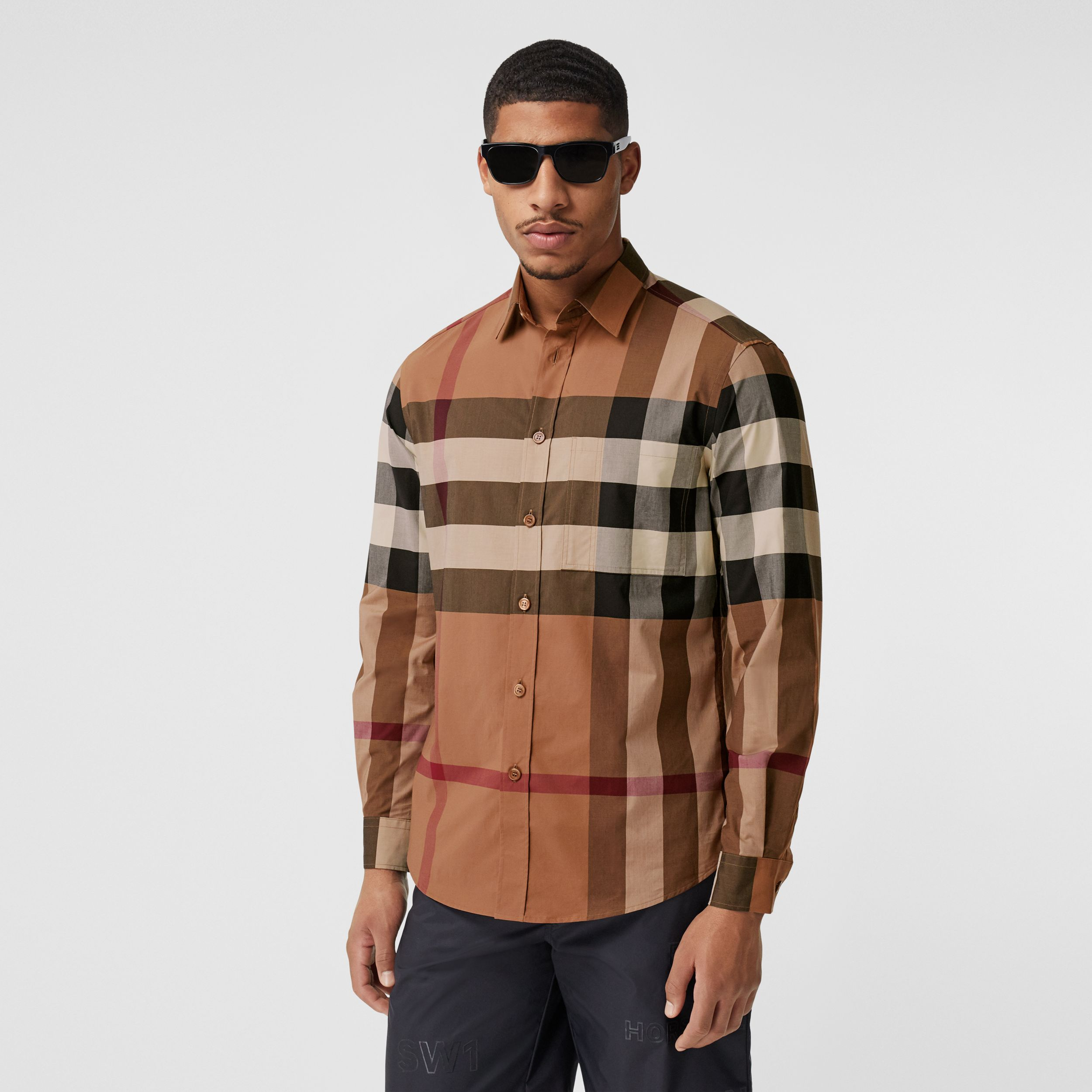 Check Stretch Cotton Poplin Shirt in Birch Brown - Men | Burberry - 1