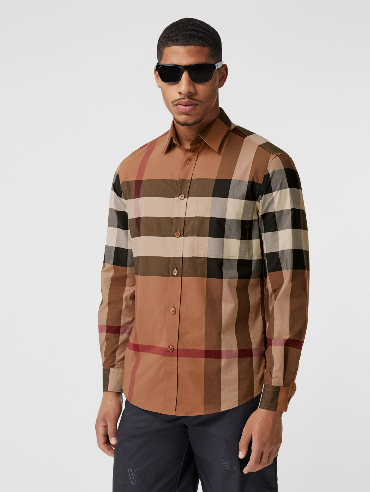 Check Stretch Cotton Poplin Shirt in Birch Brown