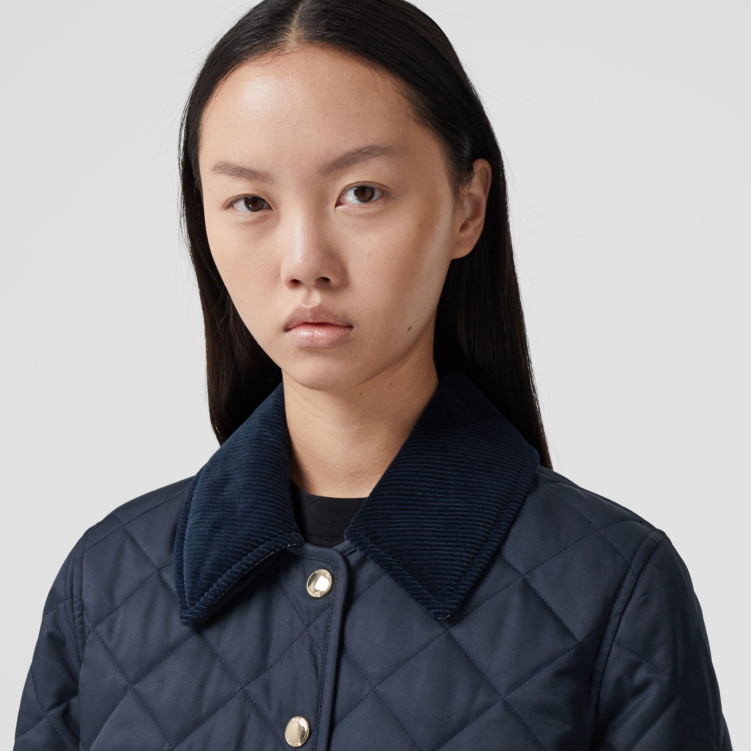 Corduroy Collar Diamond Quilted Jacket in Midnight - Women | Burberry Australia - 2