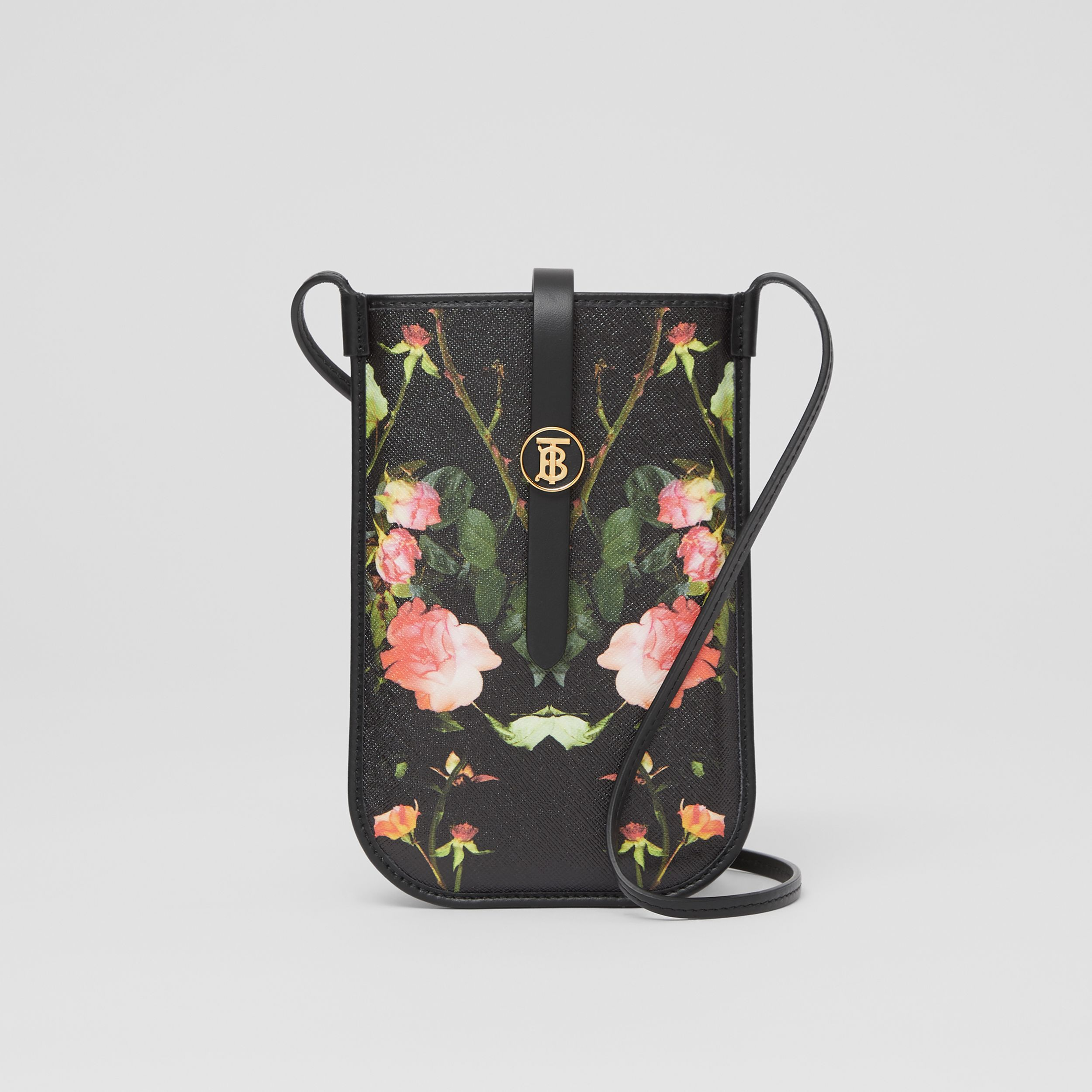 Rose Print E-canvas Phone Case with Strap in Black | Burberry - 1