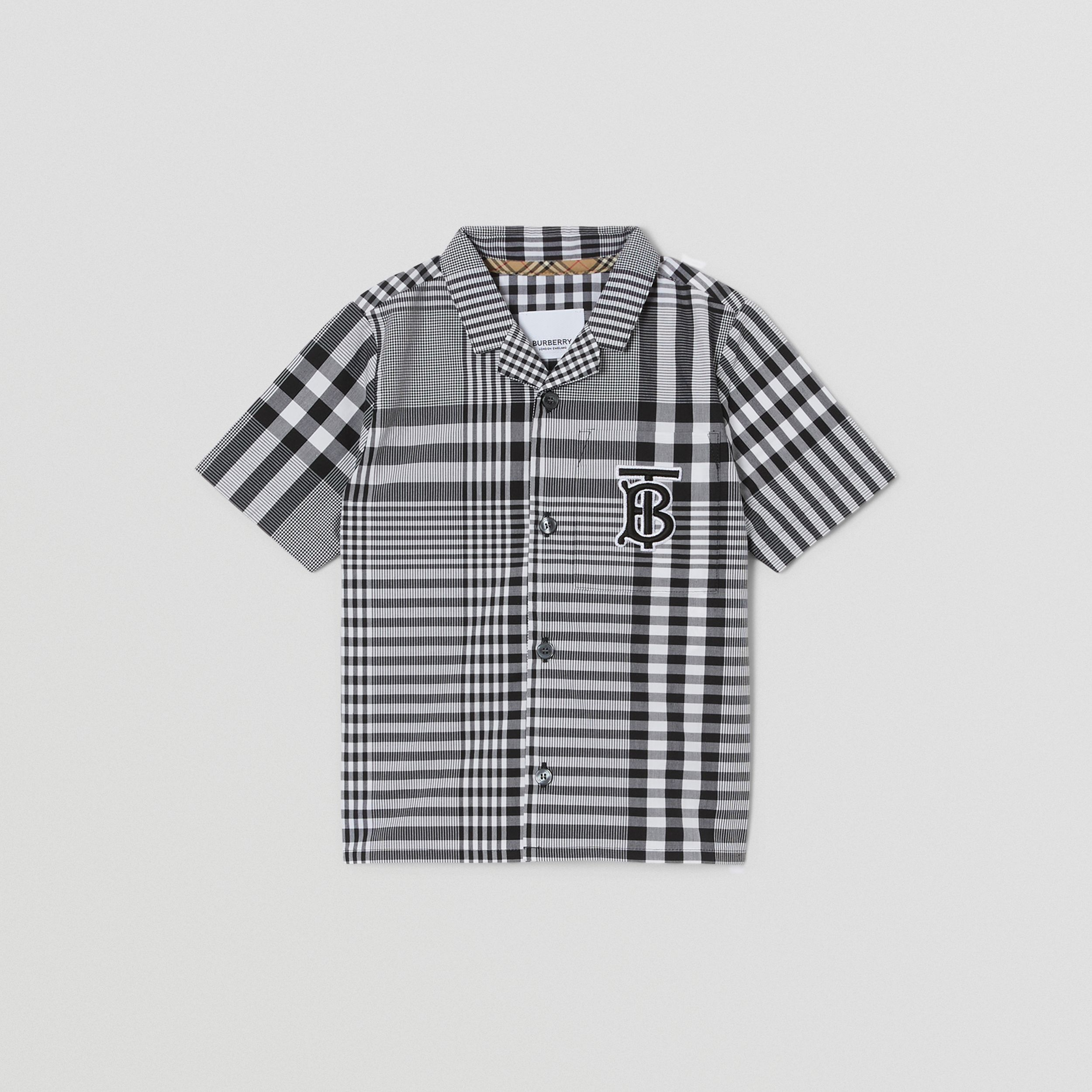 Short-sleeve Monogram Motif Check Cotton Shirt in Black - Children | Burberry United Kingdom - 1