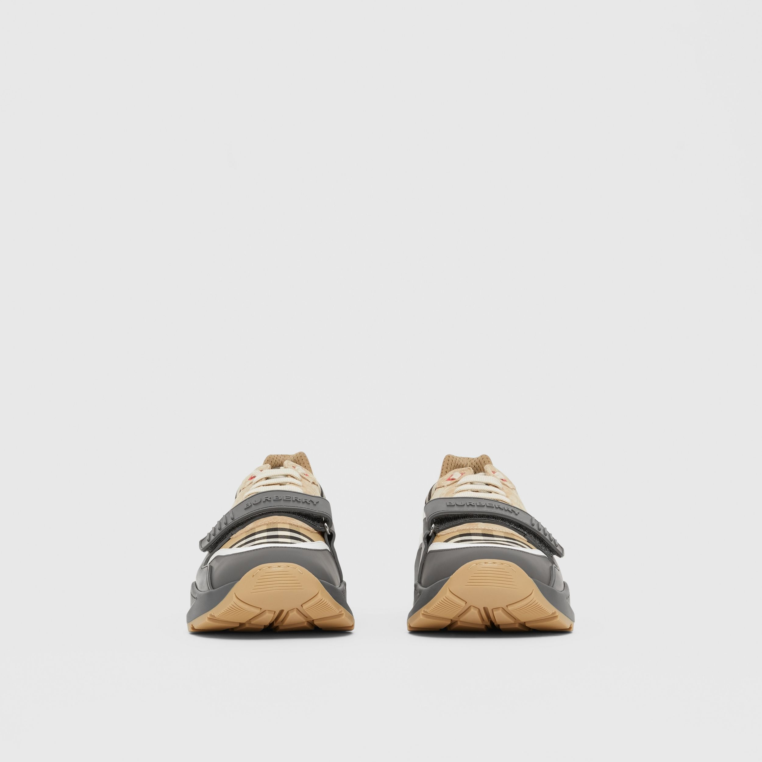 Vintage Check, Suede and Leather Sneakers in Grey/archive Beige - Men | Burberry United Kingdom - 4