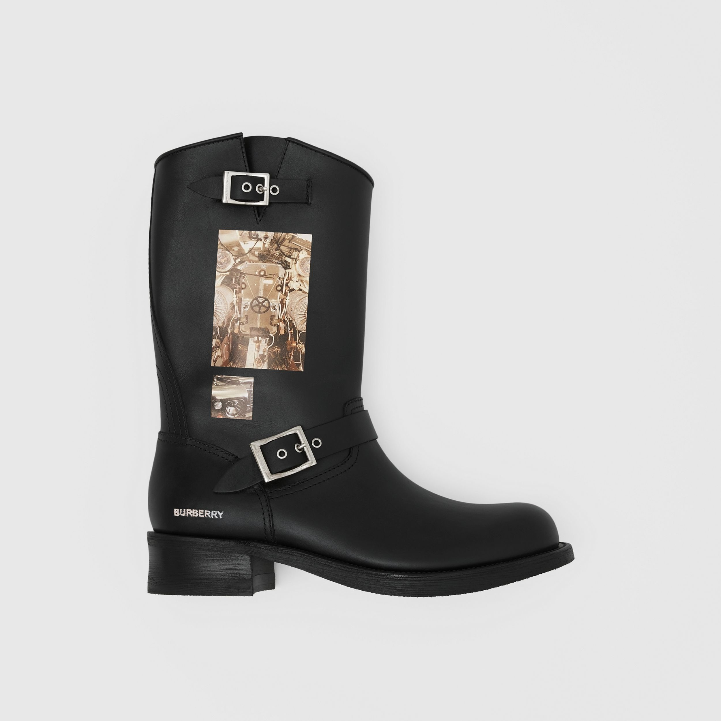 Montage Print Leather Biker Boots in Black - Men | Burberry Singapore - 1