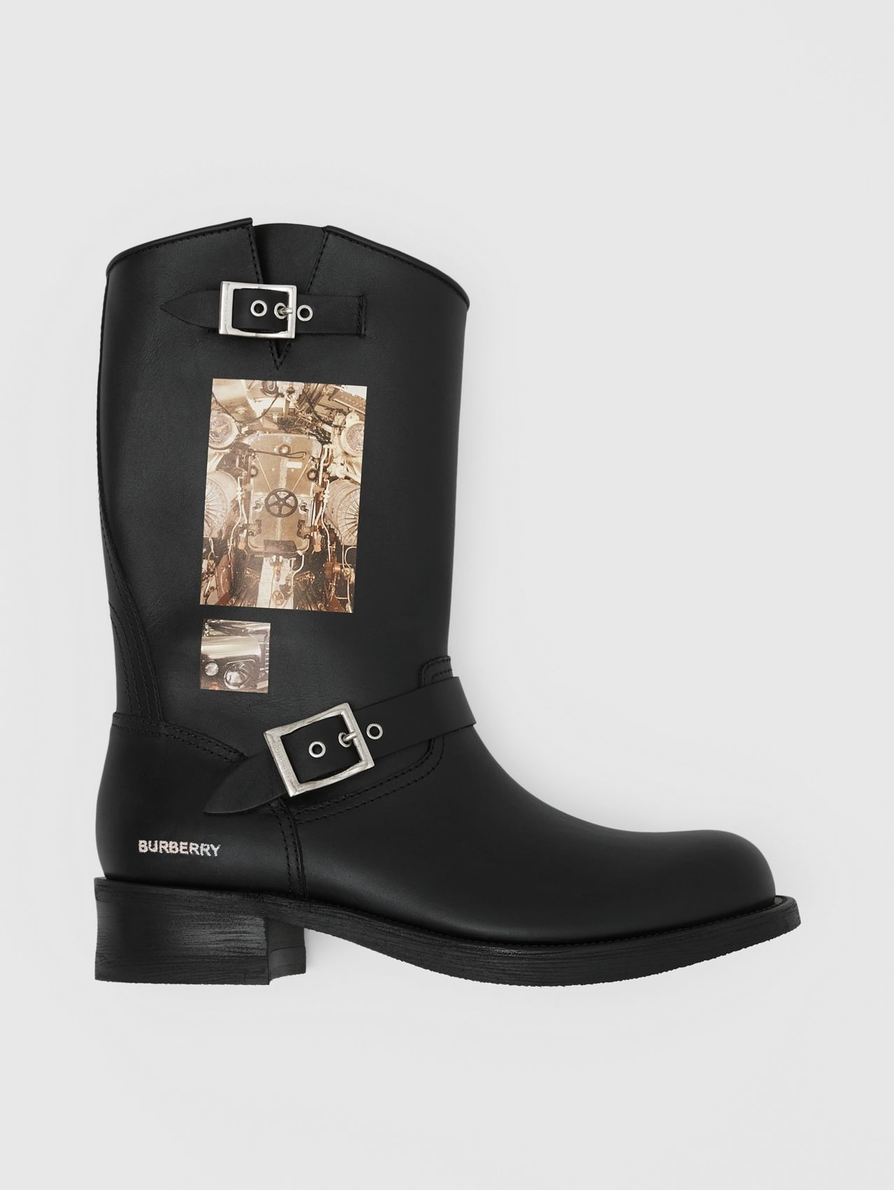 Montage Print Leather Biker Boots in Black