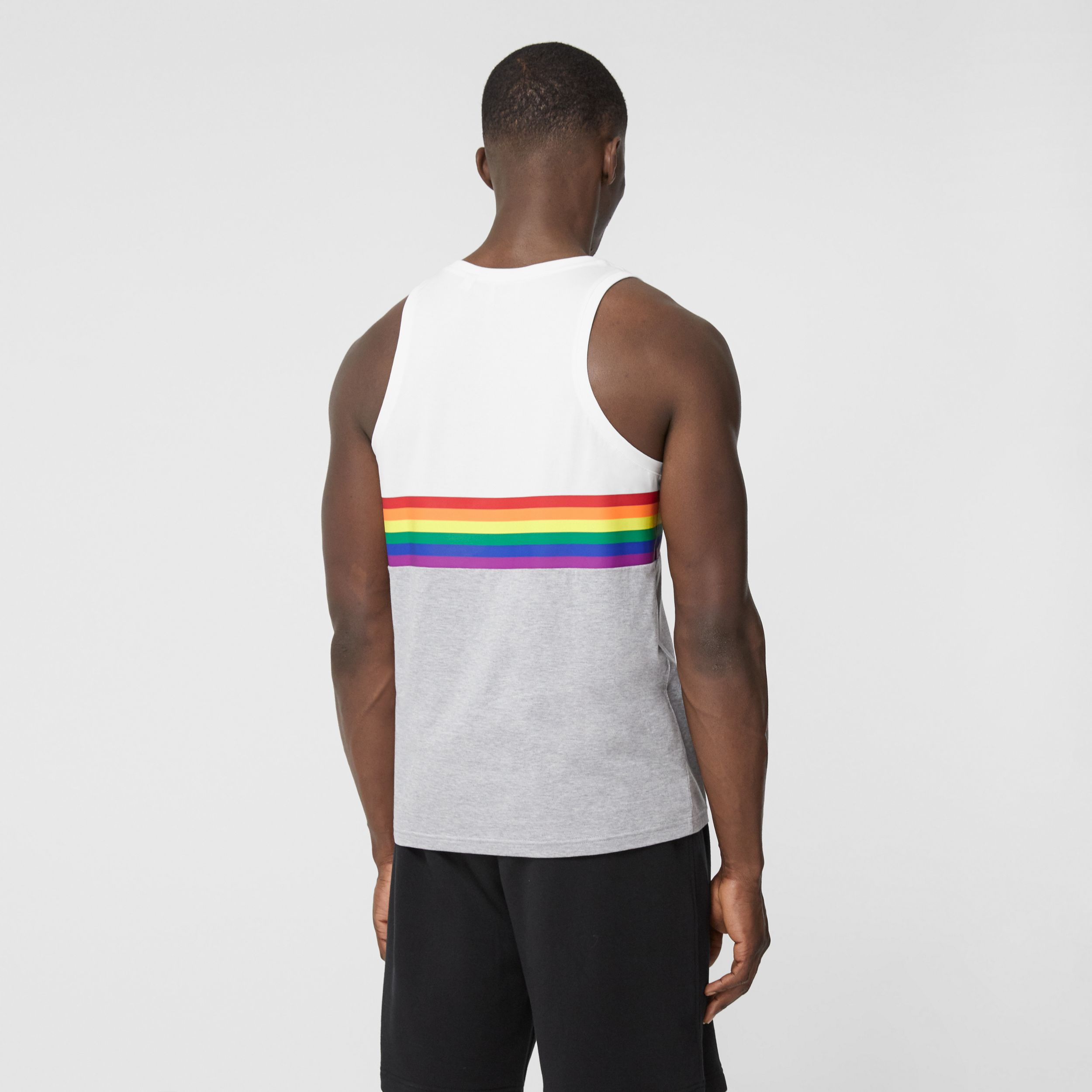 Rainbow Stripe Print Cotton Vest – Unisex in White | Burberry - 3