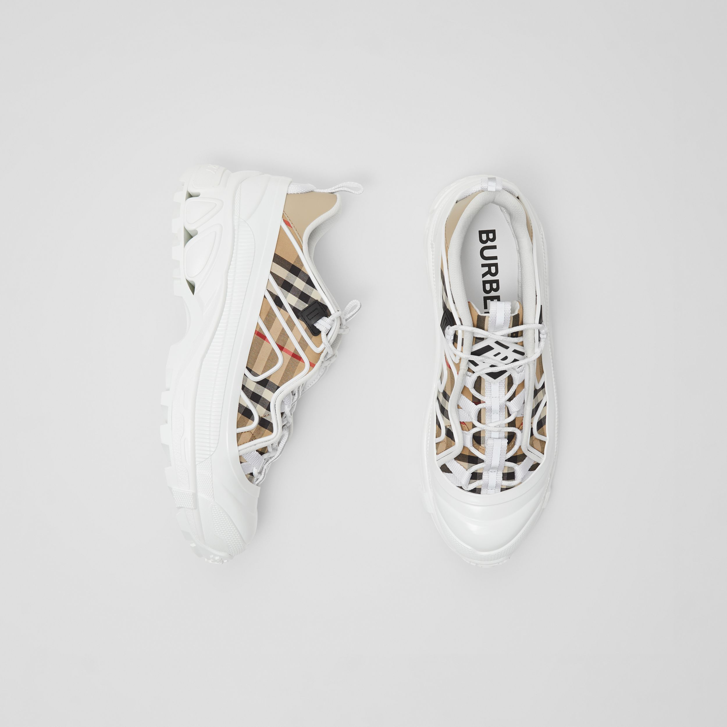 Vintage Check Cotton and Leather Arthur Sneakers in Archive Beige - Women | Burberry - 1