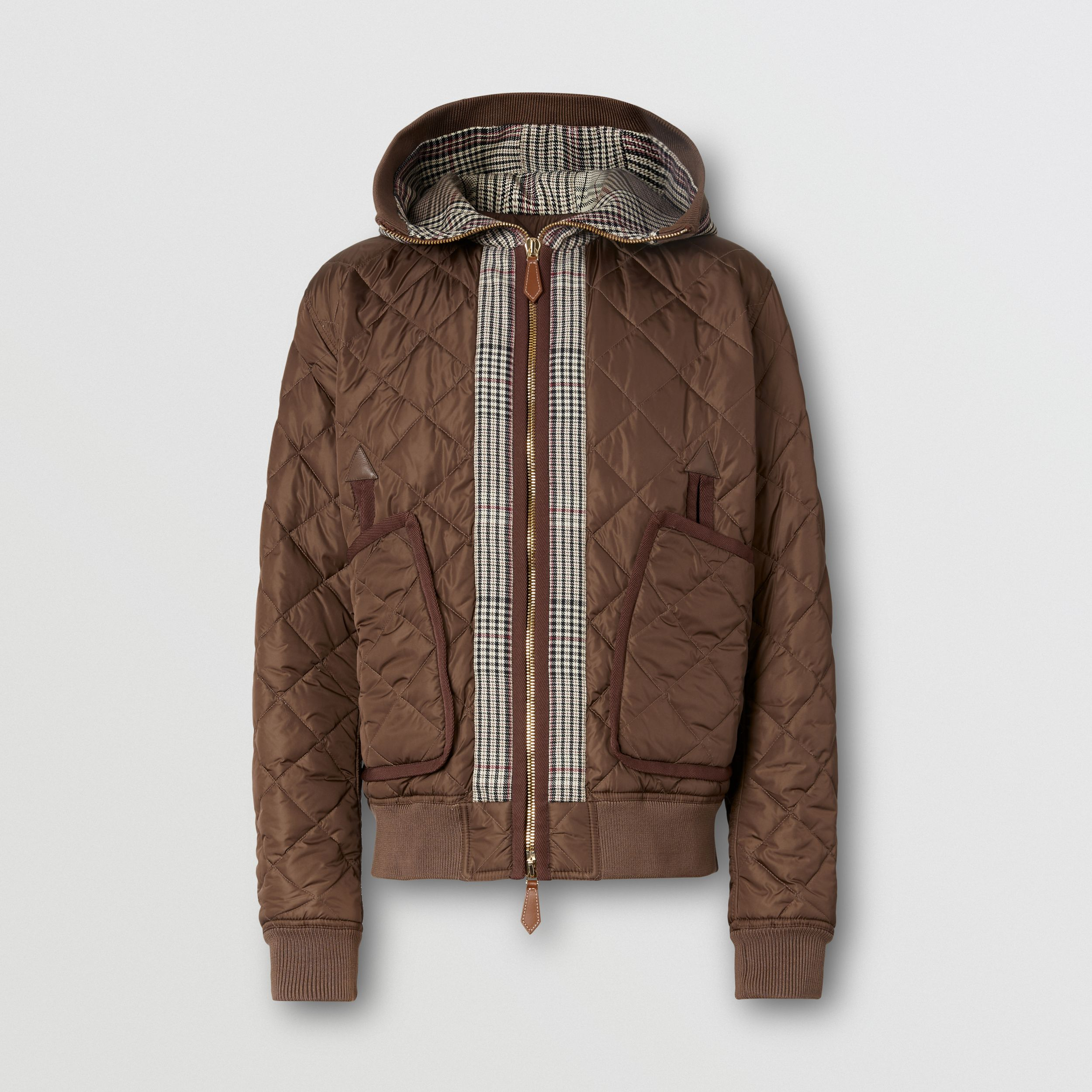 Check Panel Diamond Quilted Hooded Top in Brown | Burberry - 4