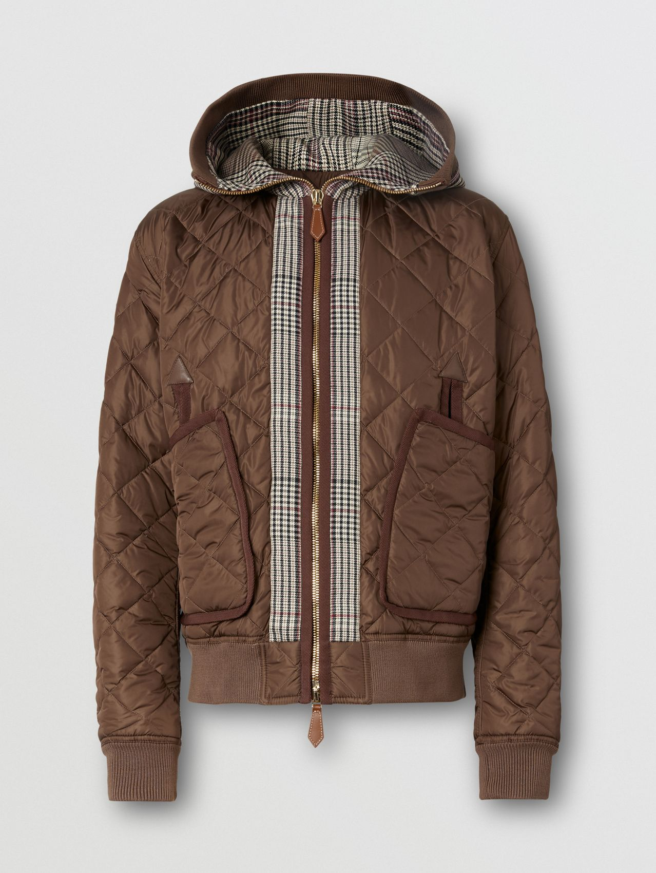 Check Panel Diamond Quilted Hooded Top in Brown