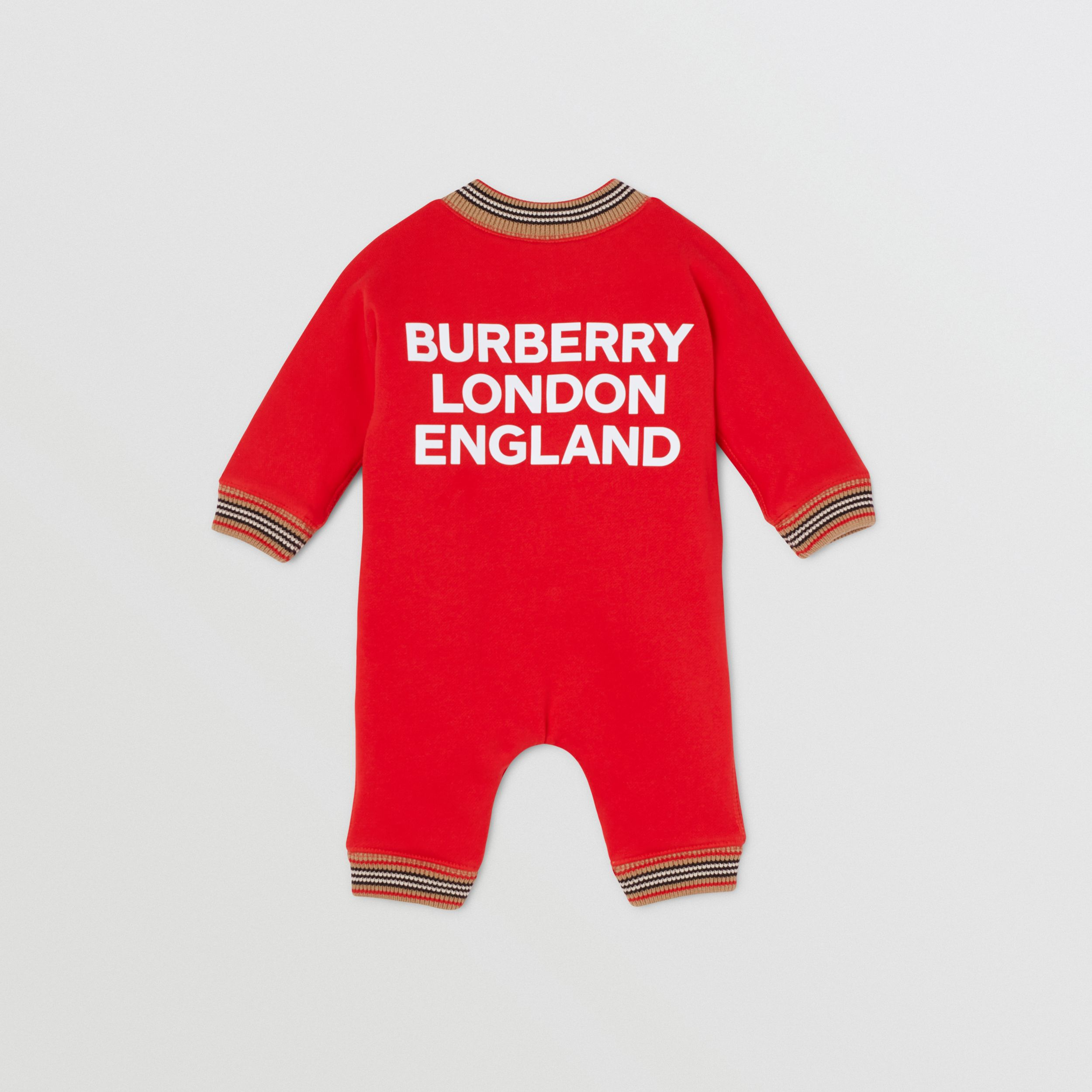 Icon Stripe Trim Cotton Jumpsuit - Children | Burberry - 4