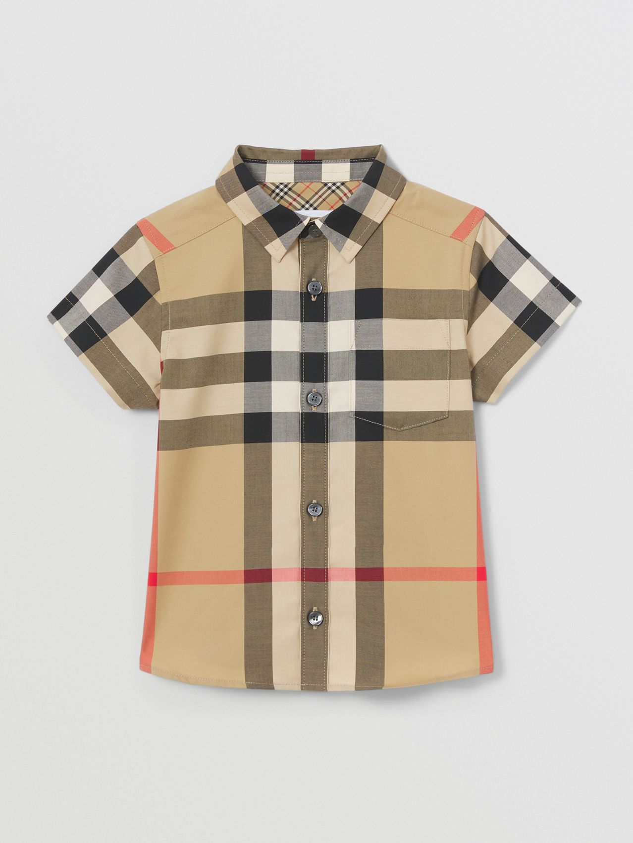 Short-sleeve Check Stretch Cotton Shirt in Archive Beige