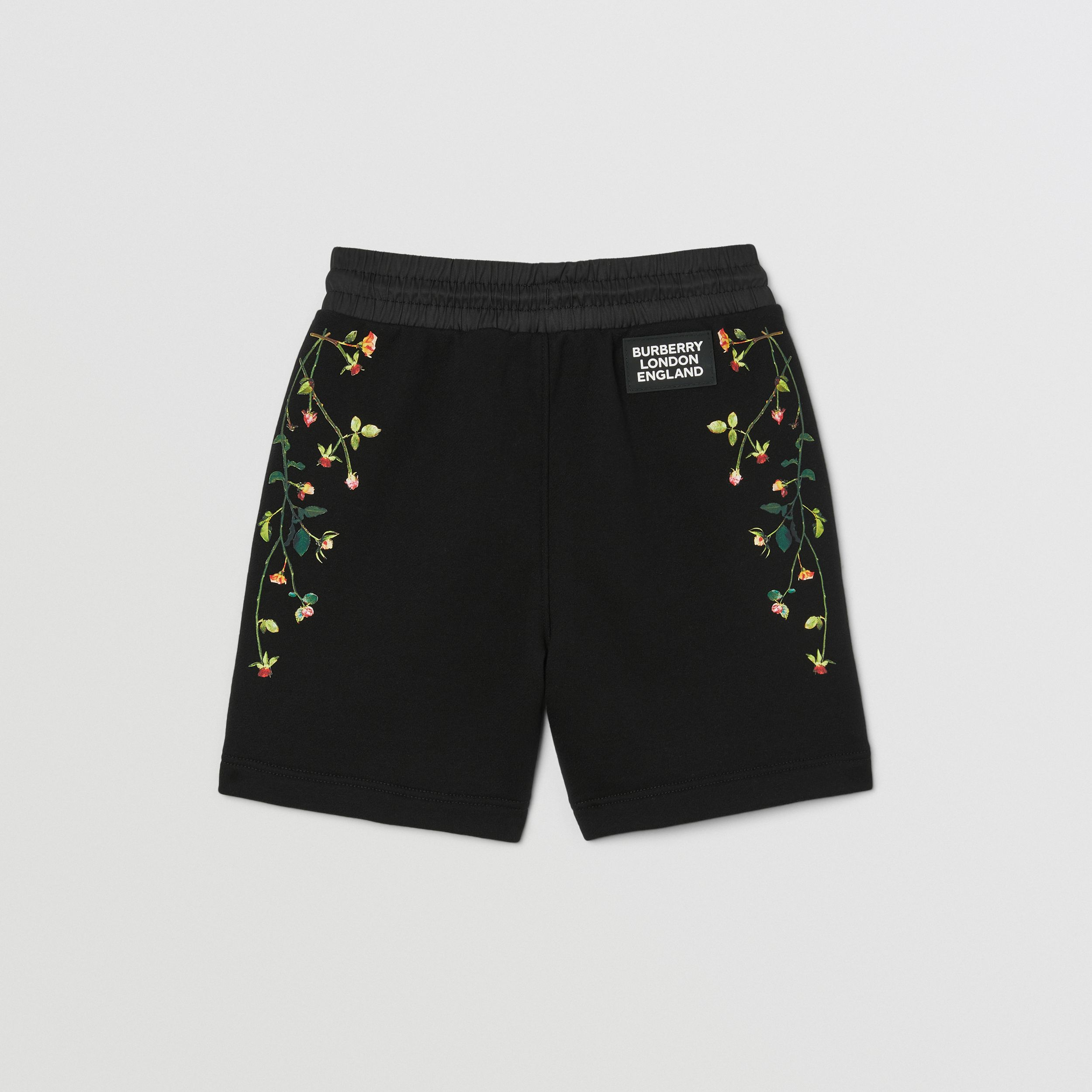 Logo Appliqué Rose Print Cotton Drawcord Shorts in Black | Burberry - 4