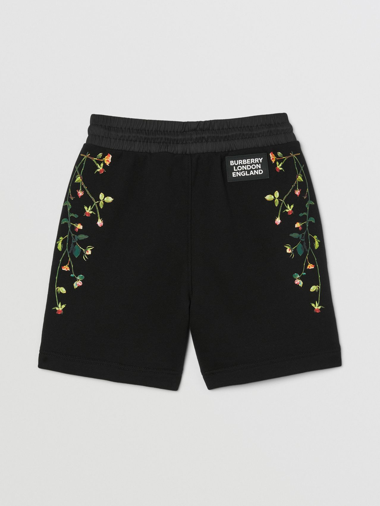 Logo Appliqué Rose Print Cotton Drawcord Shorts in Black