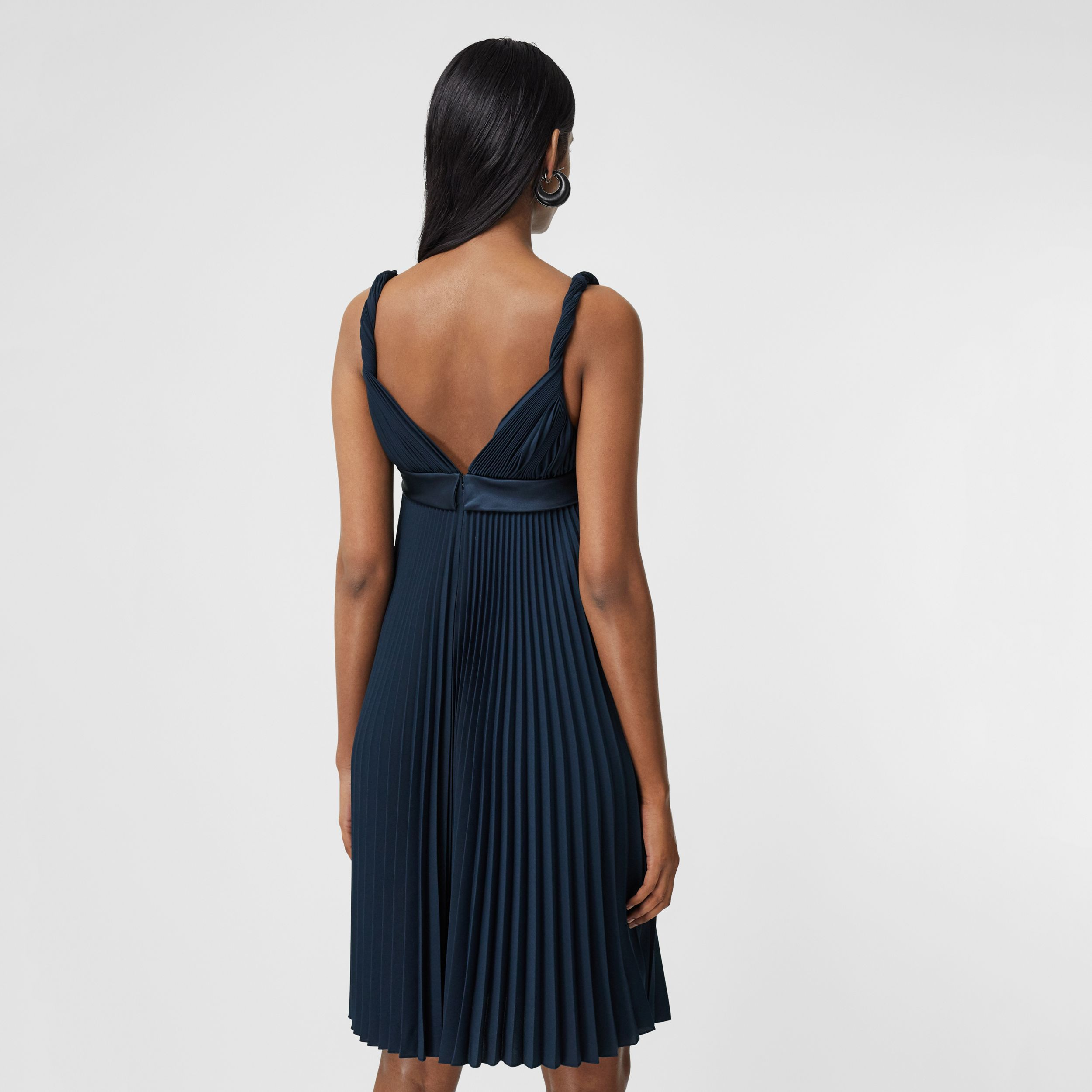 Pleated Crepe De Chine Empire-line Dress in Ink Blue - Women | Burberry United Kingdom - 3