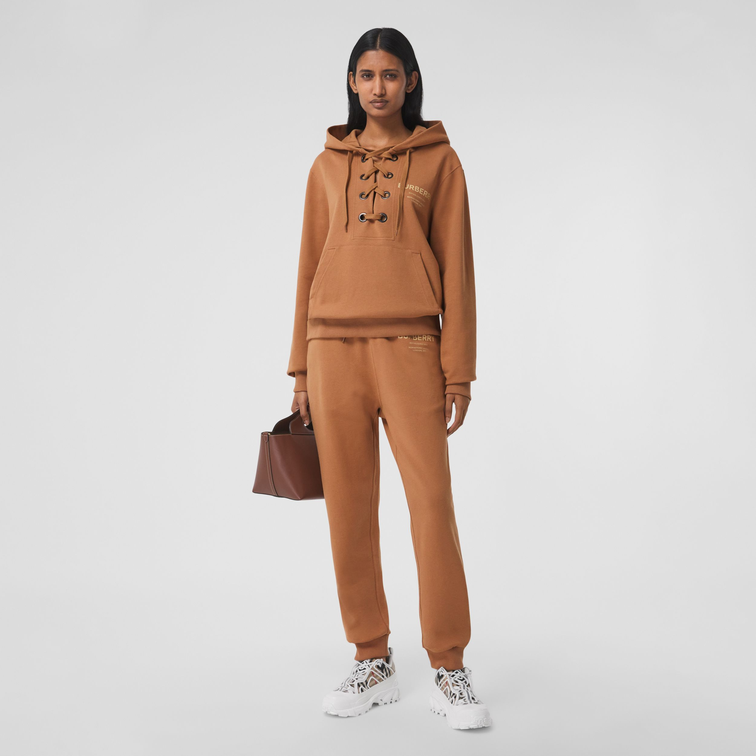 Horseferry Print Cotton Jogging Pants in Camel - Women | Burberry - 1