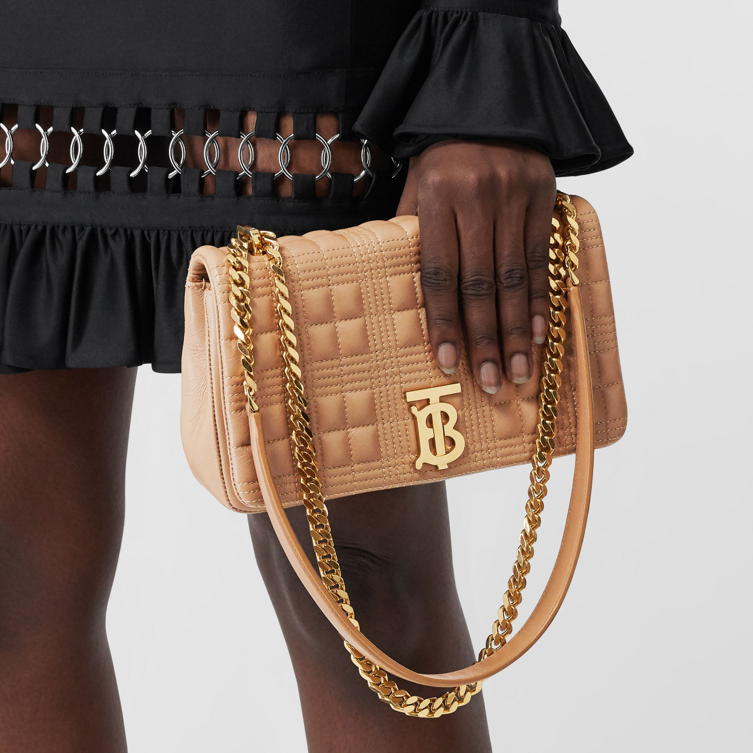 Small Quilted Lambskin Lola Bag in Camel/light Gold | Burberry - 3