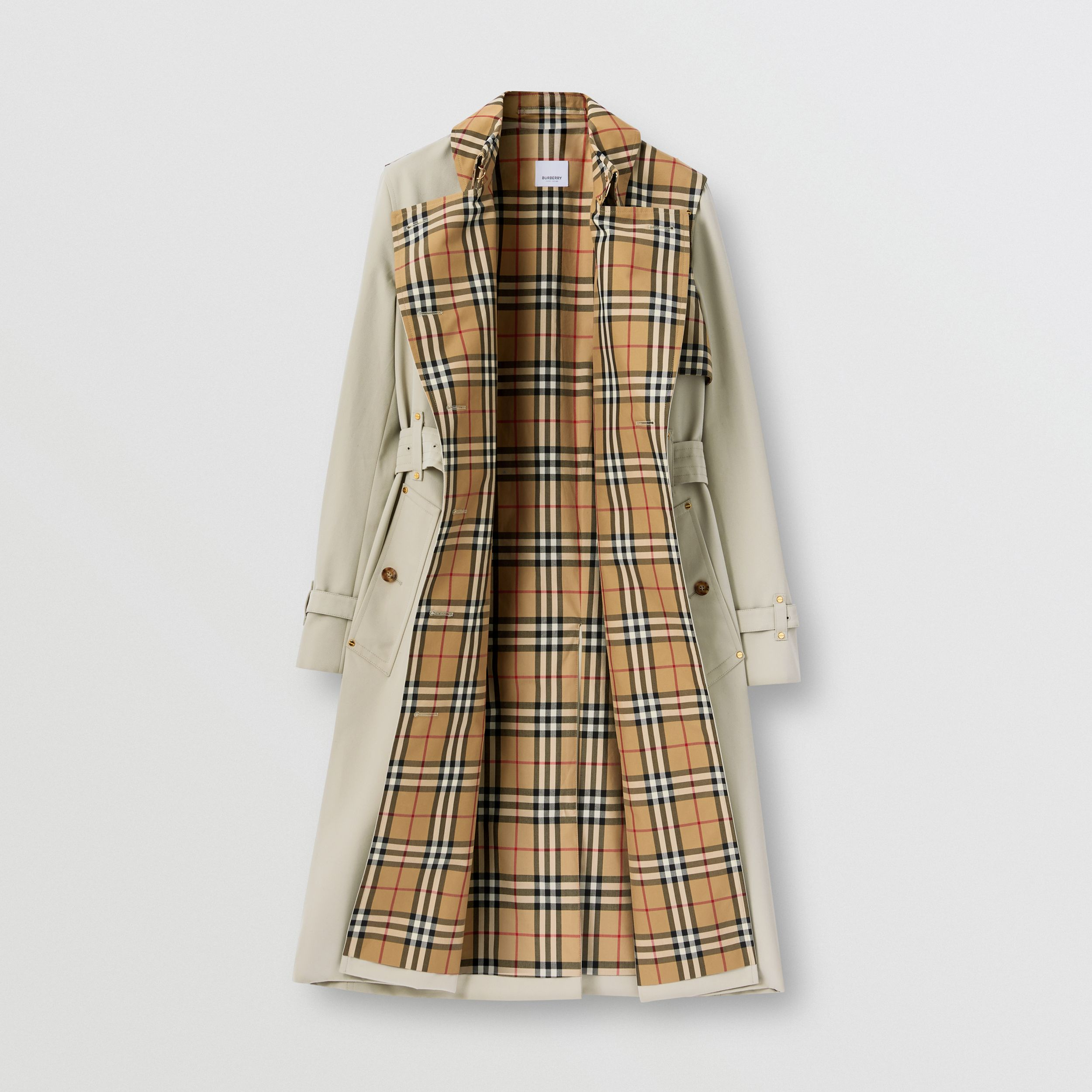 Vintage Check Panel Cotton Gabardine Trench Coat in Honey - Women | Burberry United States - 2