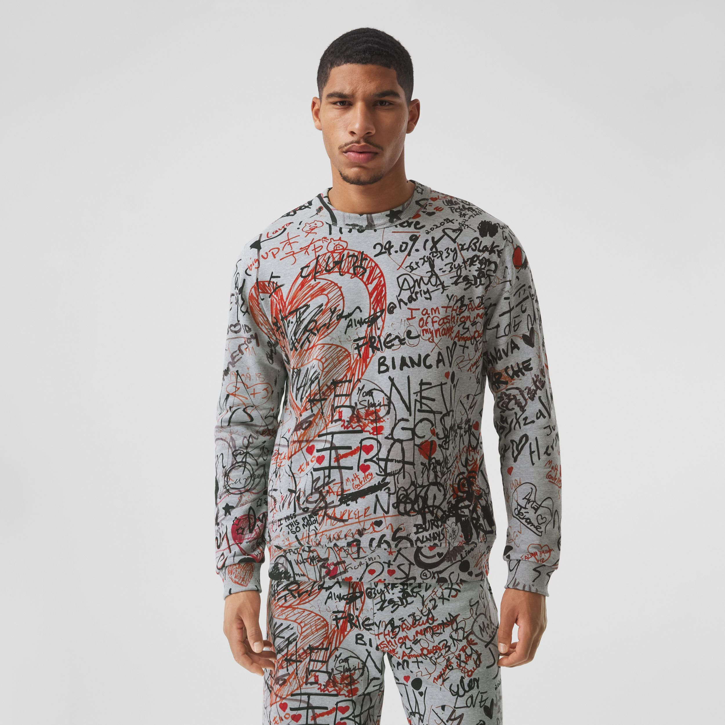 Graffiti Print Cotton Sweatshirt in Pale Grey Melange - Men | Burberry Australia - 1