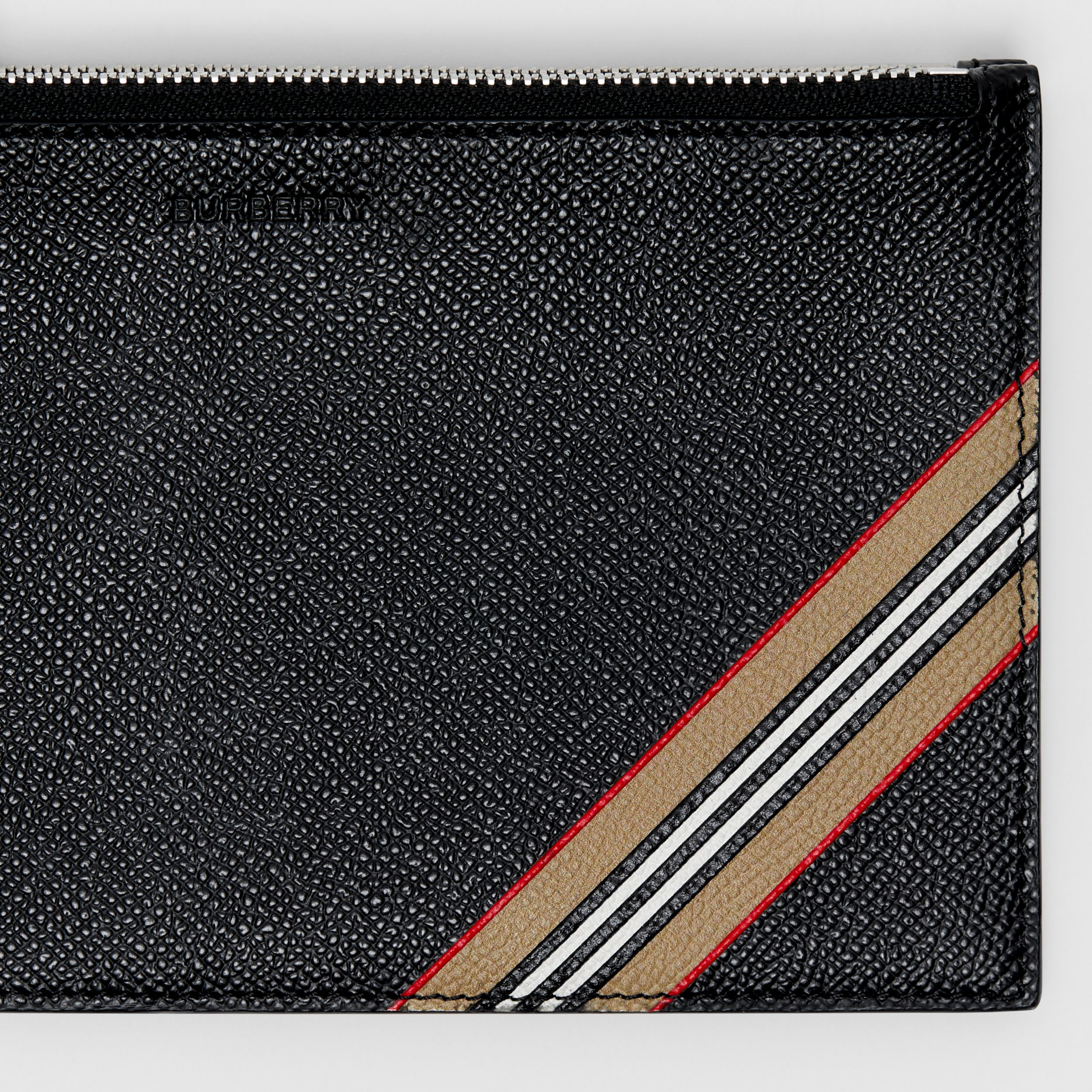 Icon Stripe Print Grainy Leather Zip Pouch in Black | Burberry - 2