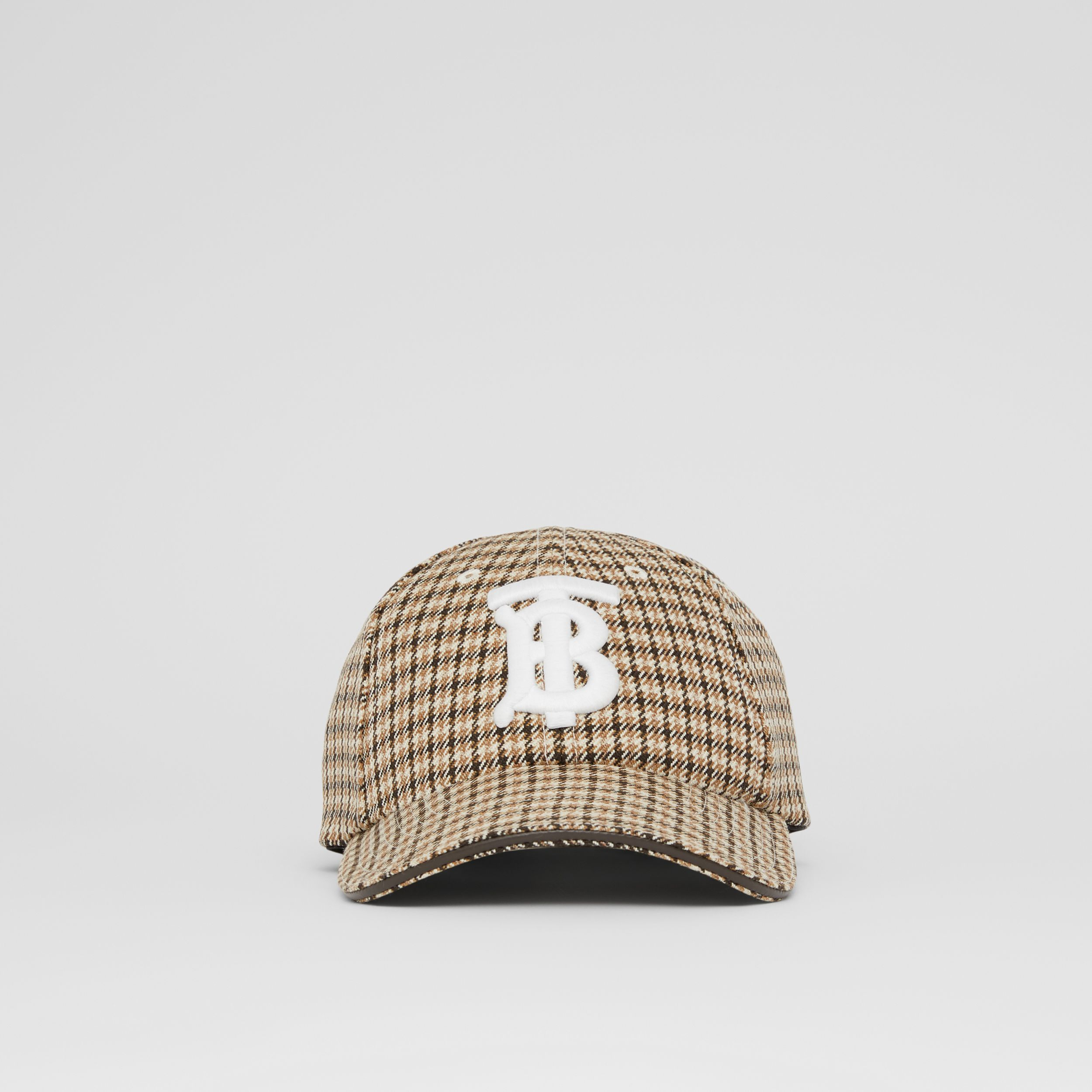 Monogram Motif Houndstooth Check Baseball Cap in Fawn | Burberry - 1
